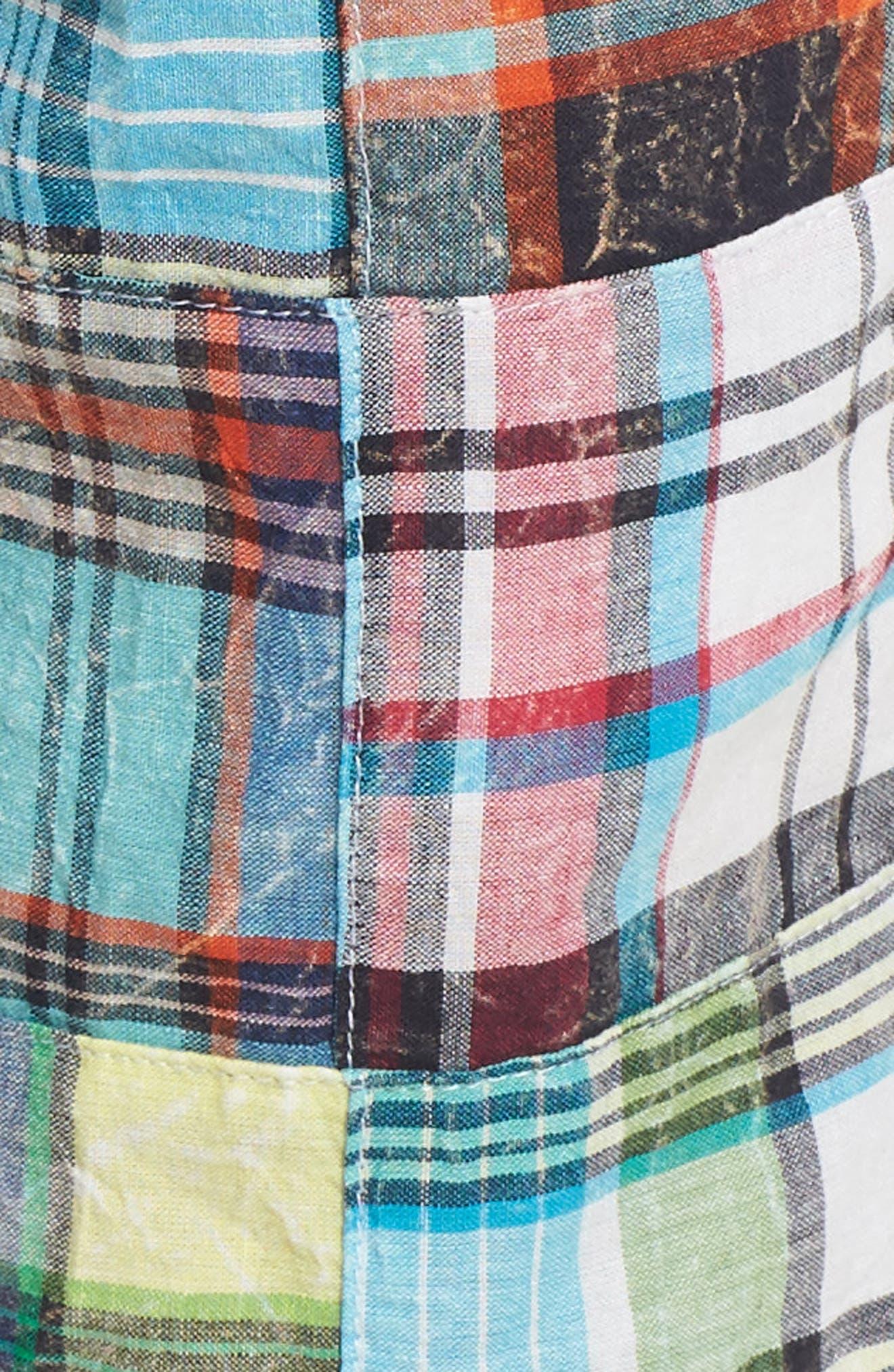 Acid Wash Plaid Patchwork Shorts,                             Alternate thumbnail 5, color,                             300