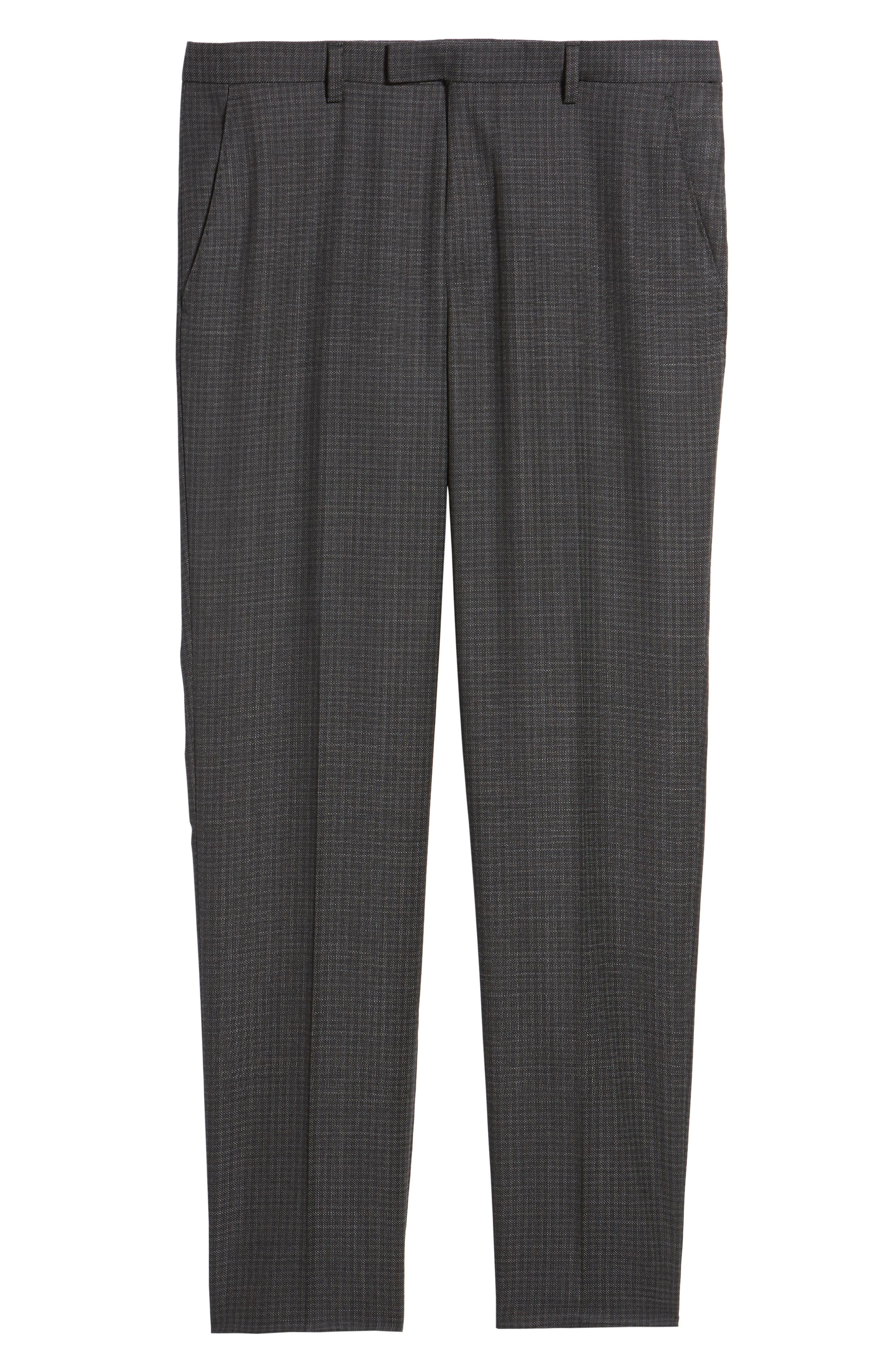 Leenon Flat Front Regular Fit Check Wool Trousers,                             Alternate thumbnail 6, color,                             001