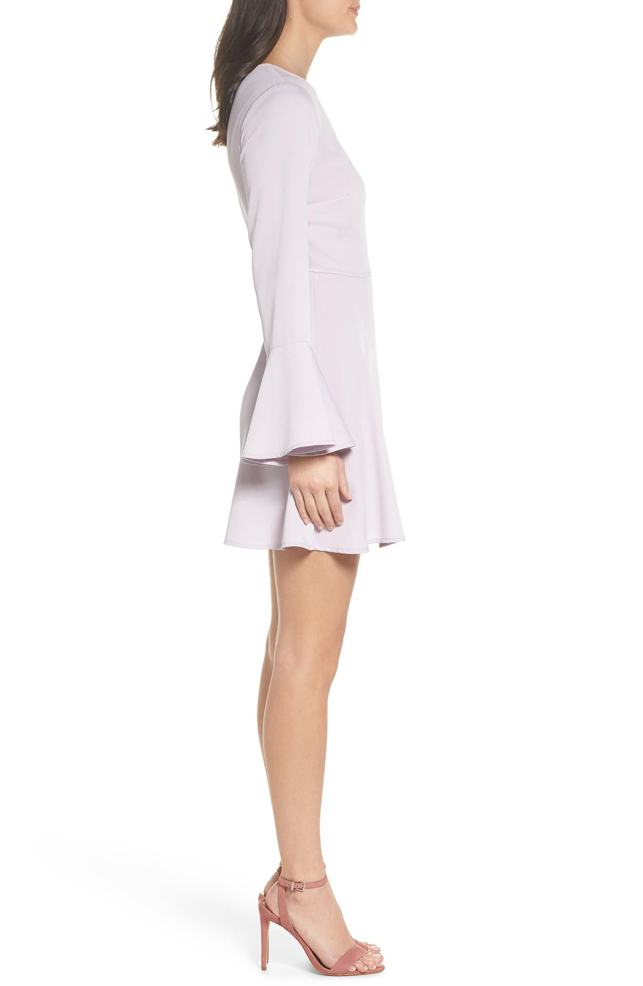 Bell Sleeve Fit & Flare Dress,                             Alternate thumbnail 6, color,