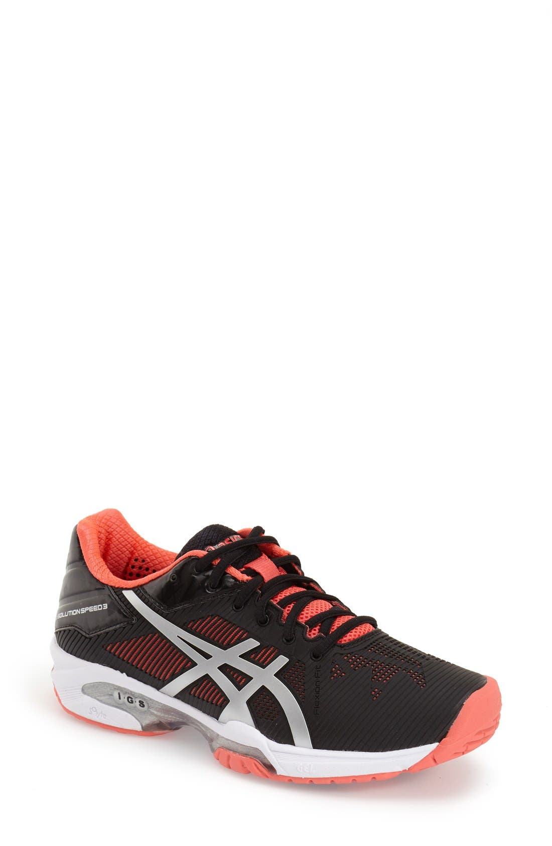 ASICS<SUP>®</SUP>,                             'GEL-Solution Speed 3' Tennis Shoe,                             Main thumbnail 1, color,                             001