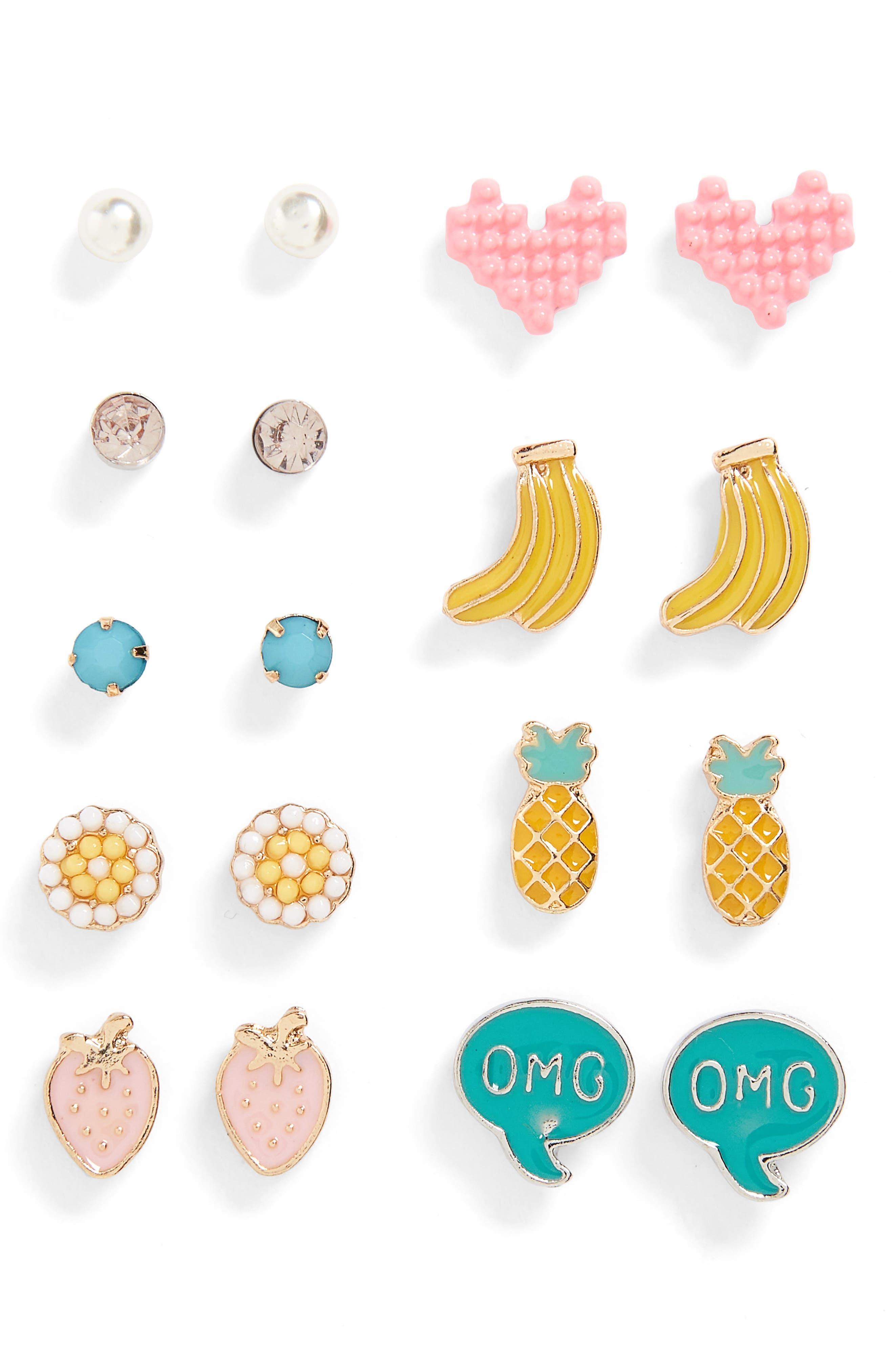 8-Pack Stud Earrings,                             Main thumbnail 1, color,                             651
