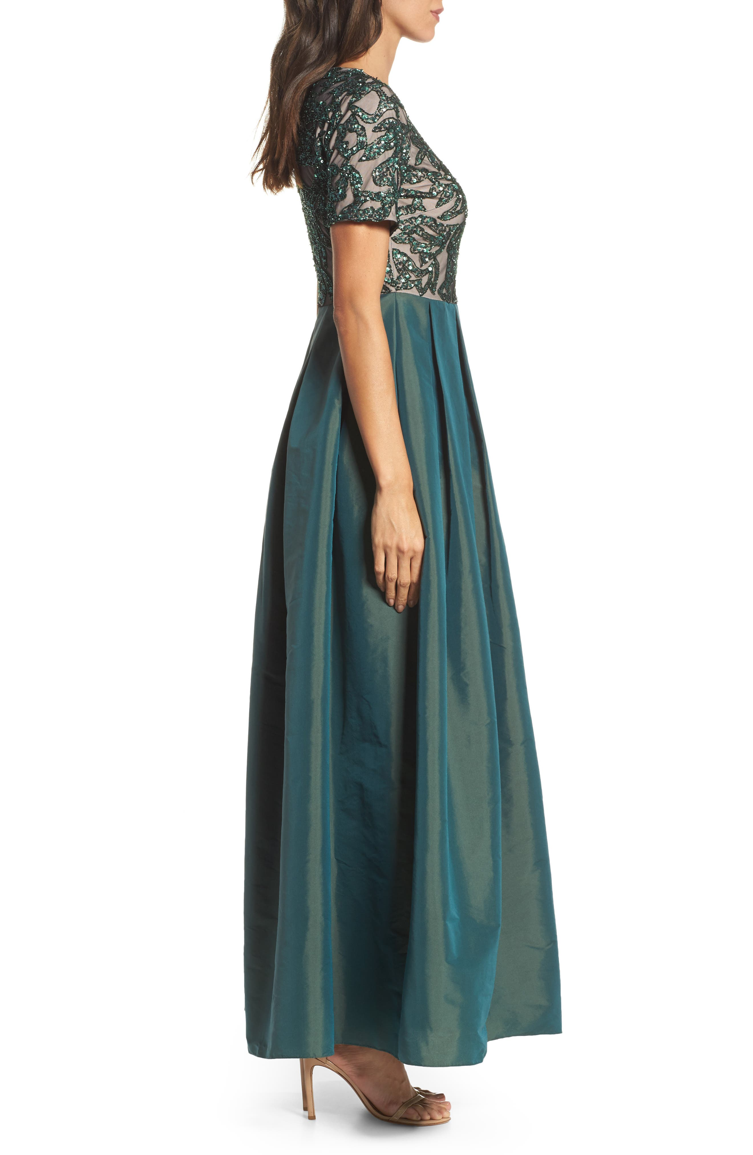 Beaded Pleated Gown,                             Alternate thumbnail 3, color,                             302