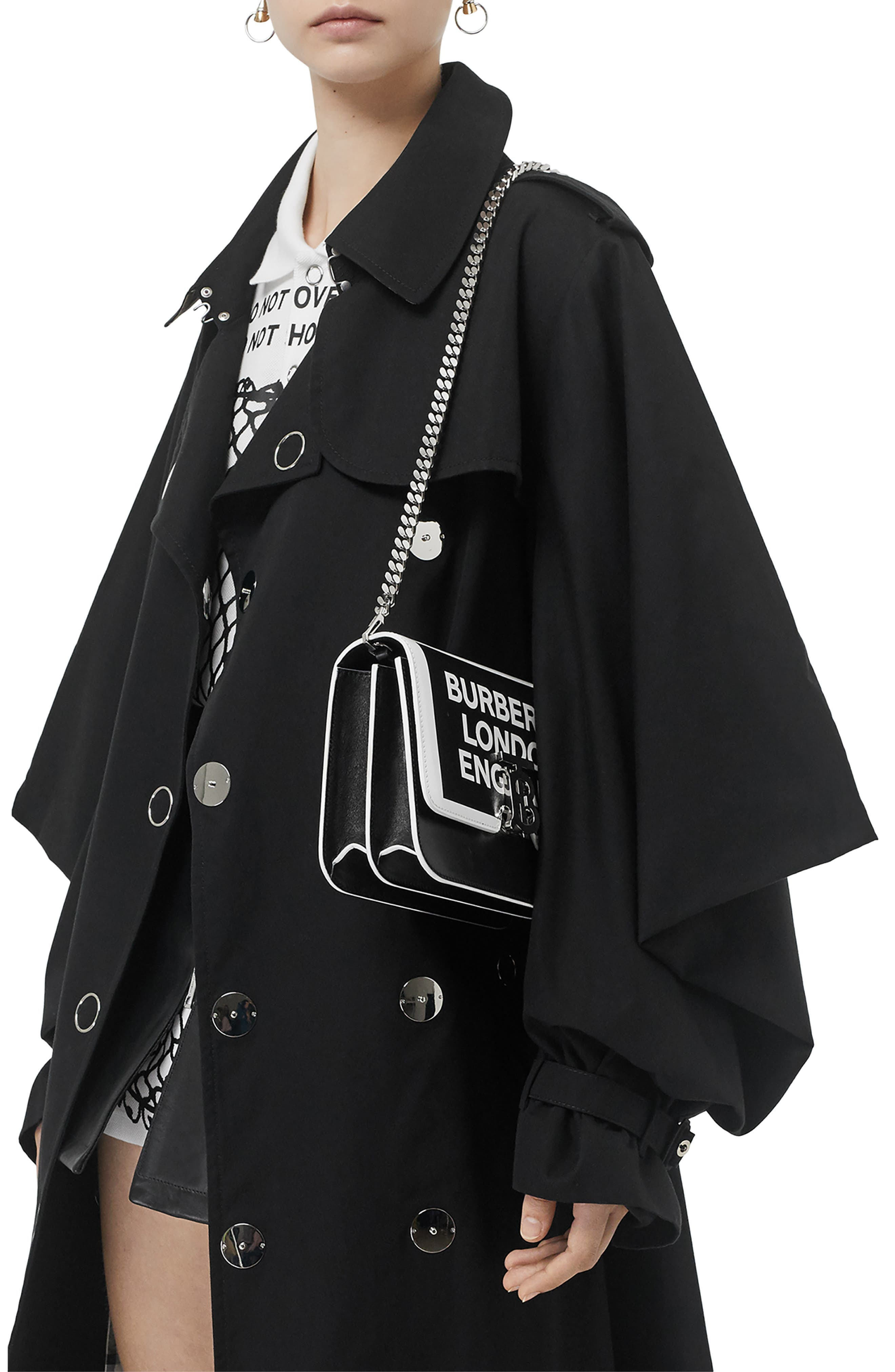 BURBERRY,                             Small Painted Edge Logo TB Crossbody Bag,                             Alternate thumbnail 2, color,                             BLACK/ WHITE