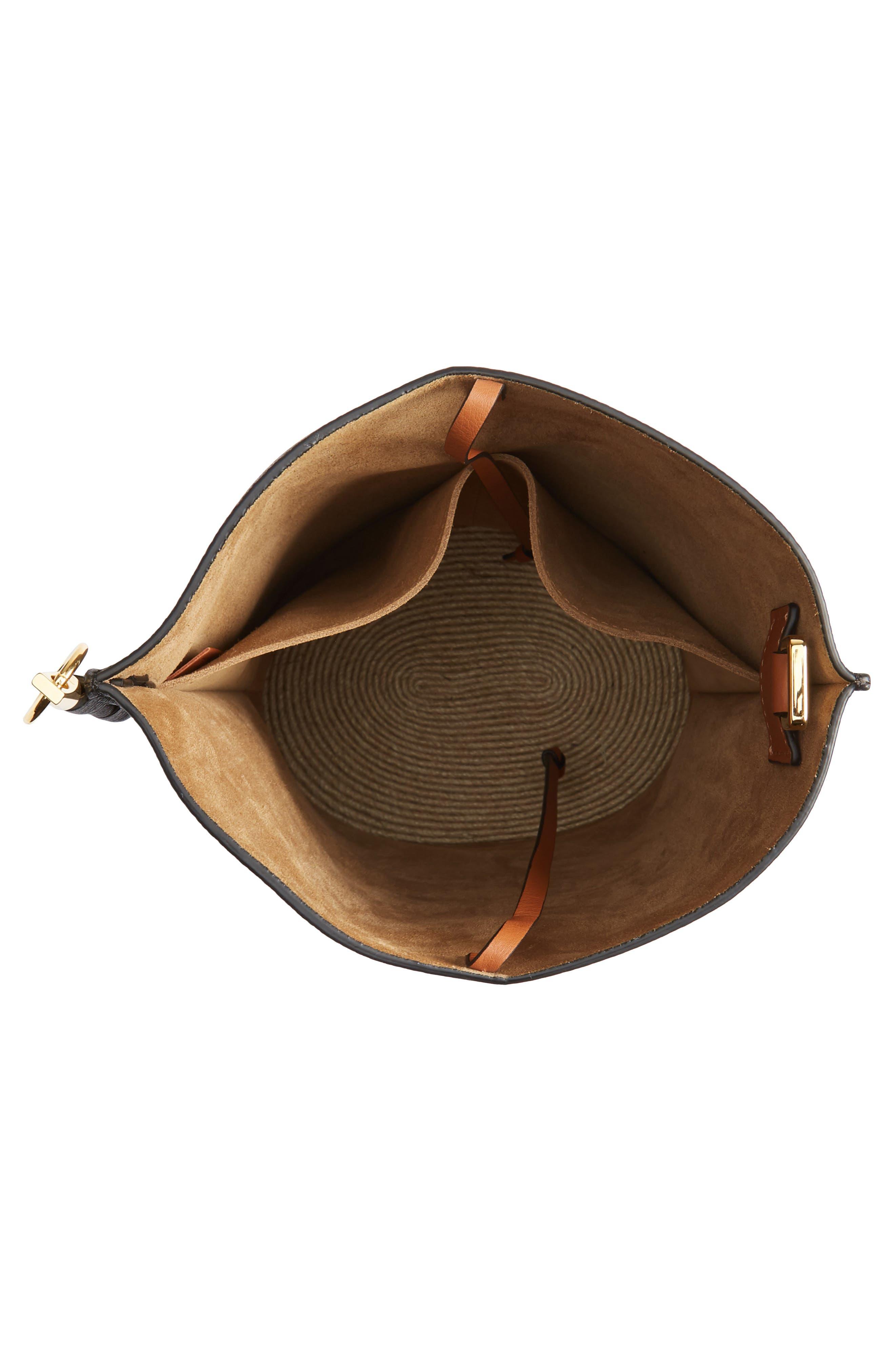 LOEWE,                             Gate Espadrillas Leather Bucket Bag,                             Alternate thumbnail 4, color,                             BLACK