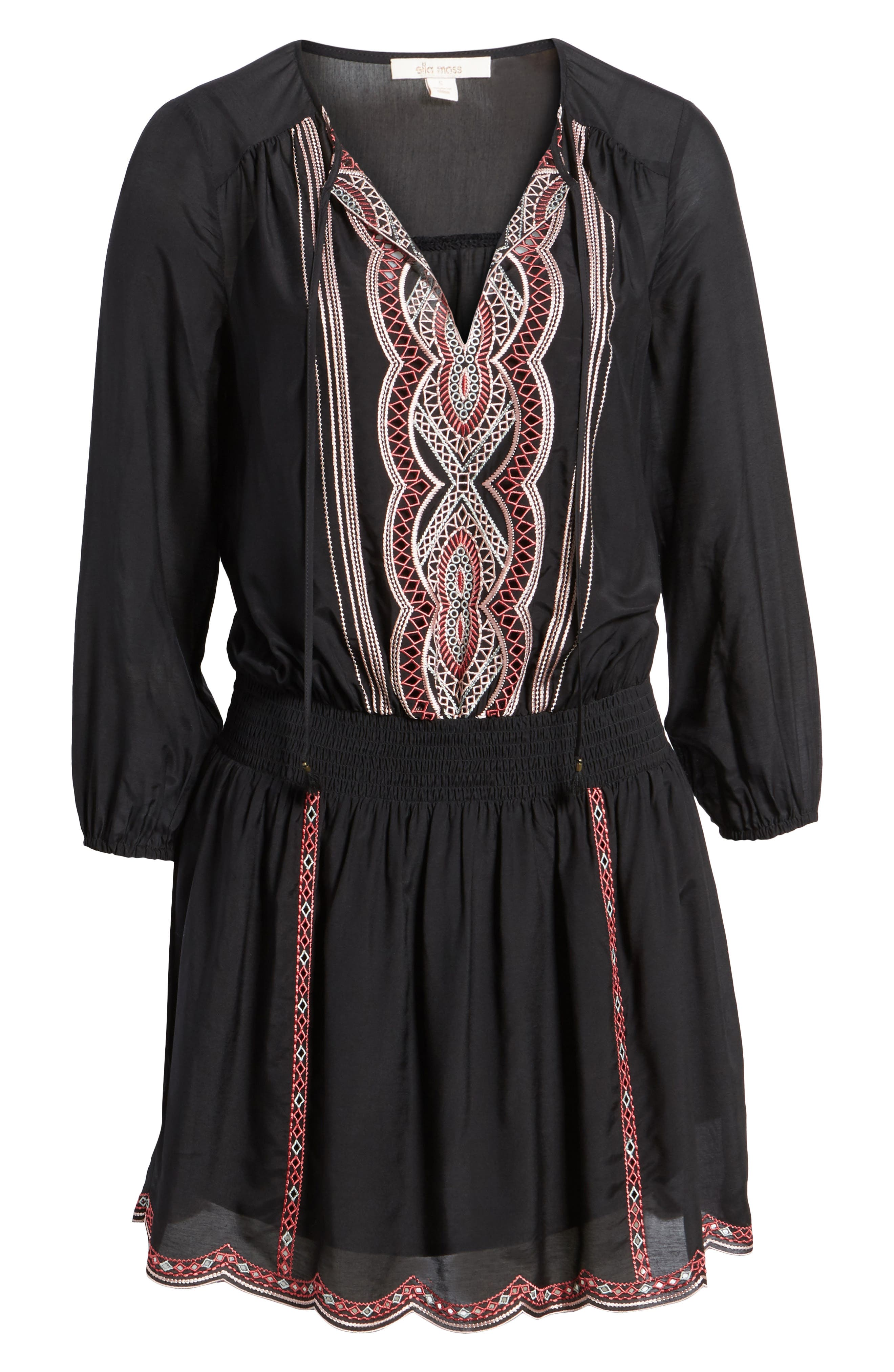 Embroidered Blouson Minidress,                             Alternate thumbnail 6, color,                             001