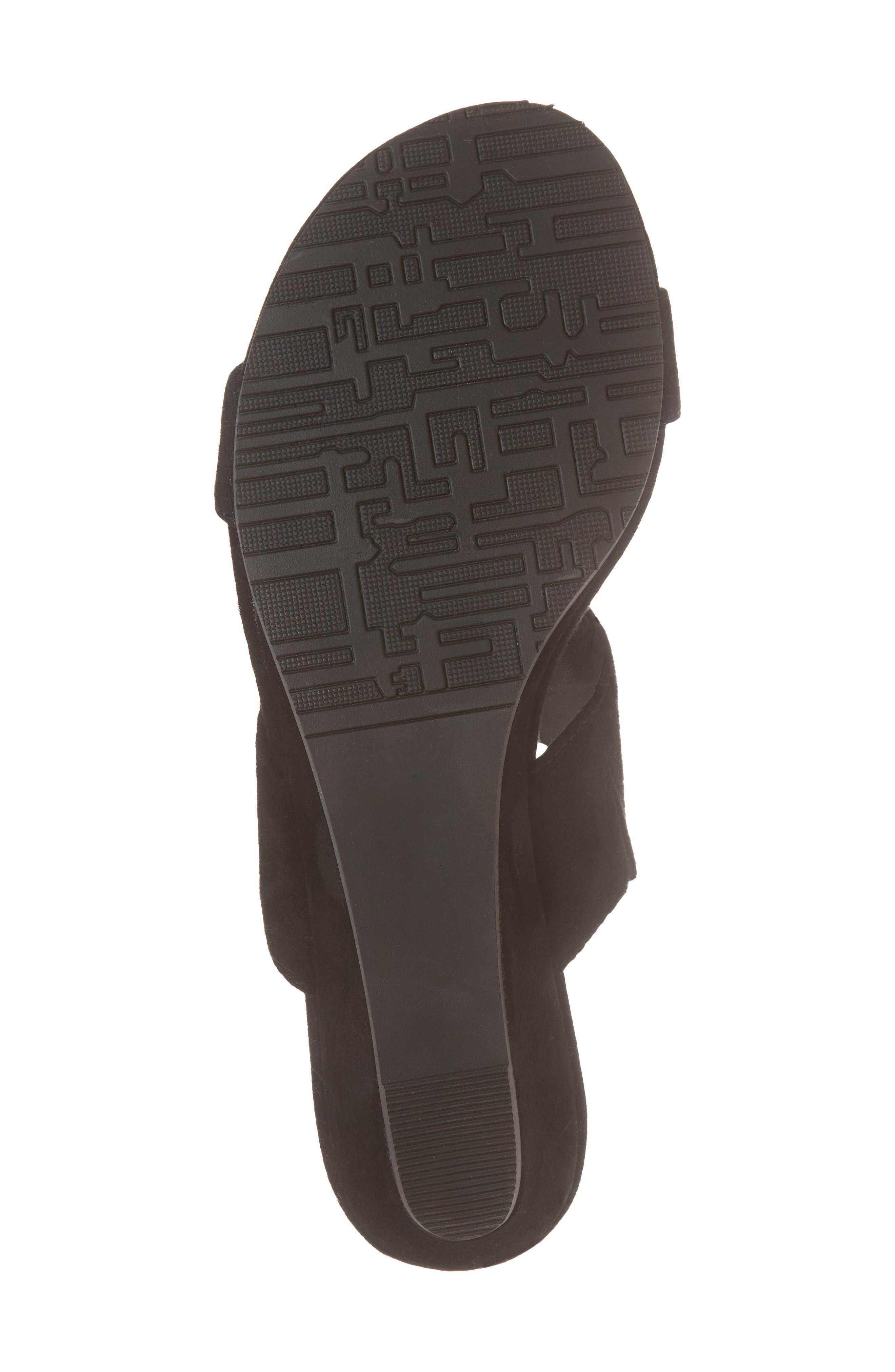 Burlington Wedge Slide Sandal,                             Alternate thumbnail 6, color,                             BLACK SUEDE