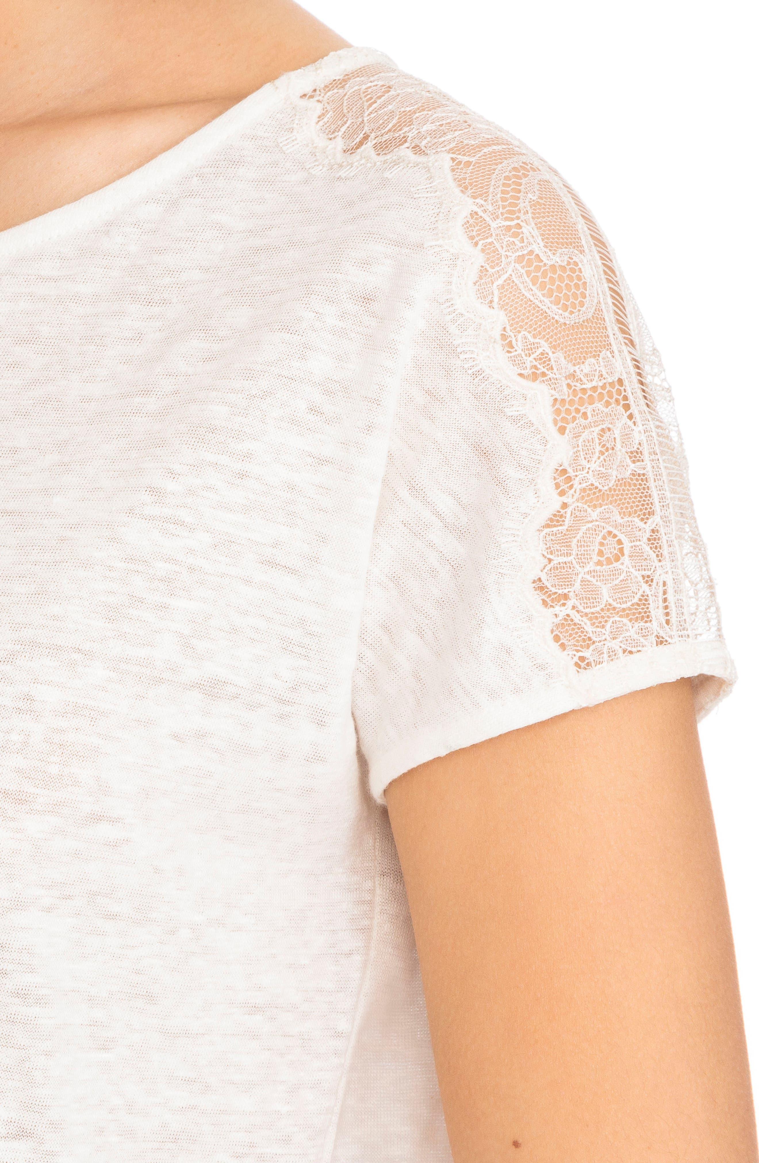Livia Lace Shoulder Back Tie Linen Tee,                             Alternate thumbnail 4, color,                             100