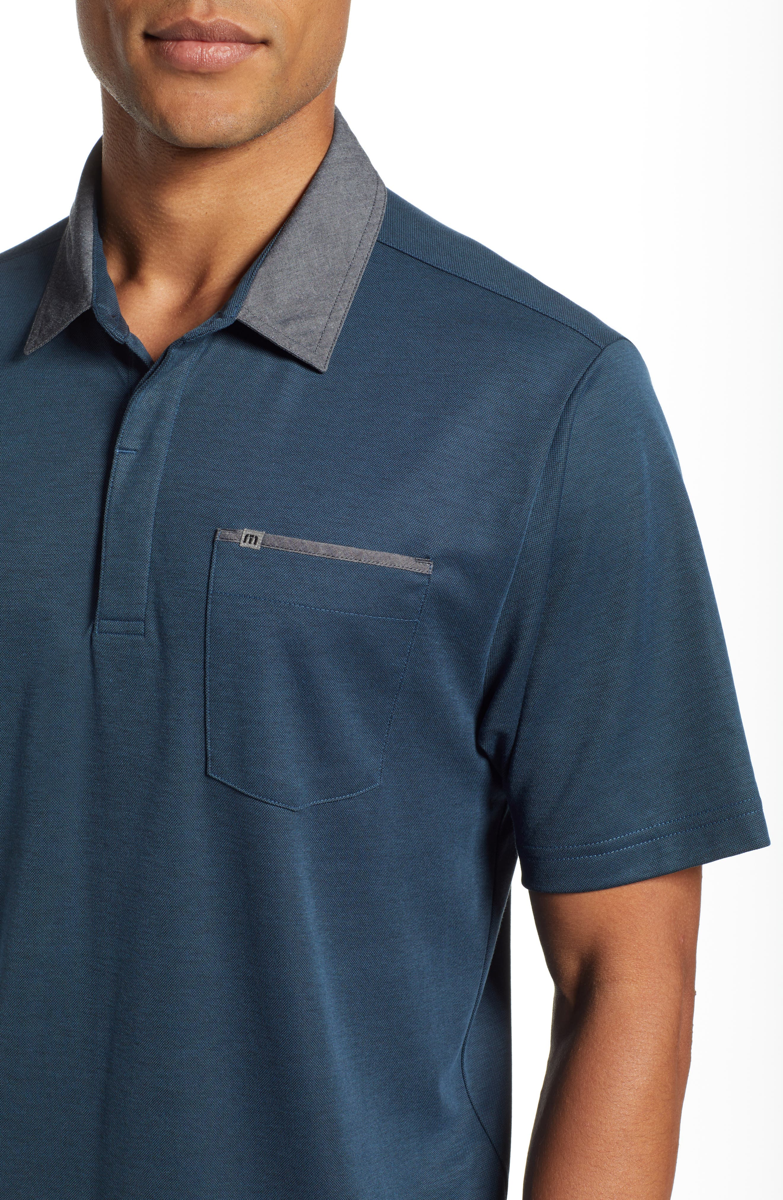 Change the Game Regular Fit Polo,                             Alternate thumbnail 4, color,                             BLUE WING TEAL/ BLACK