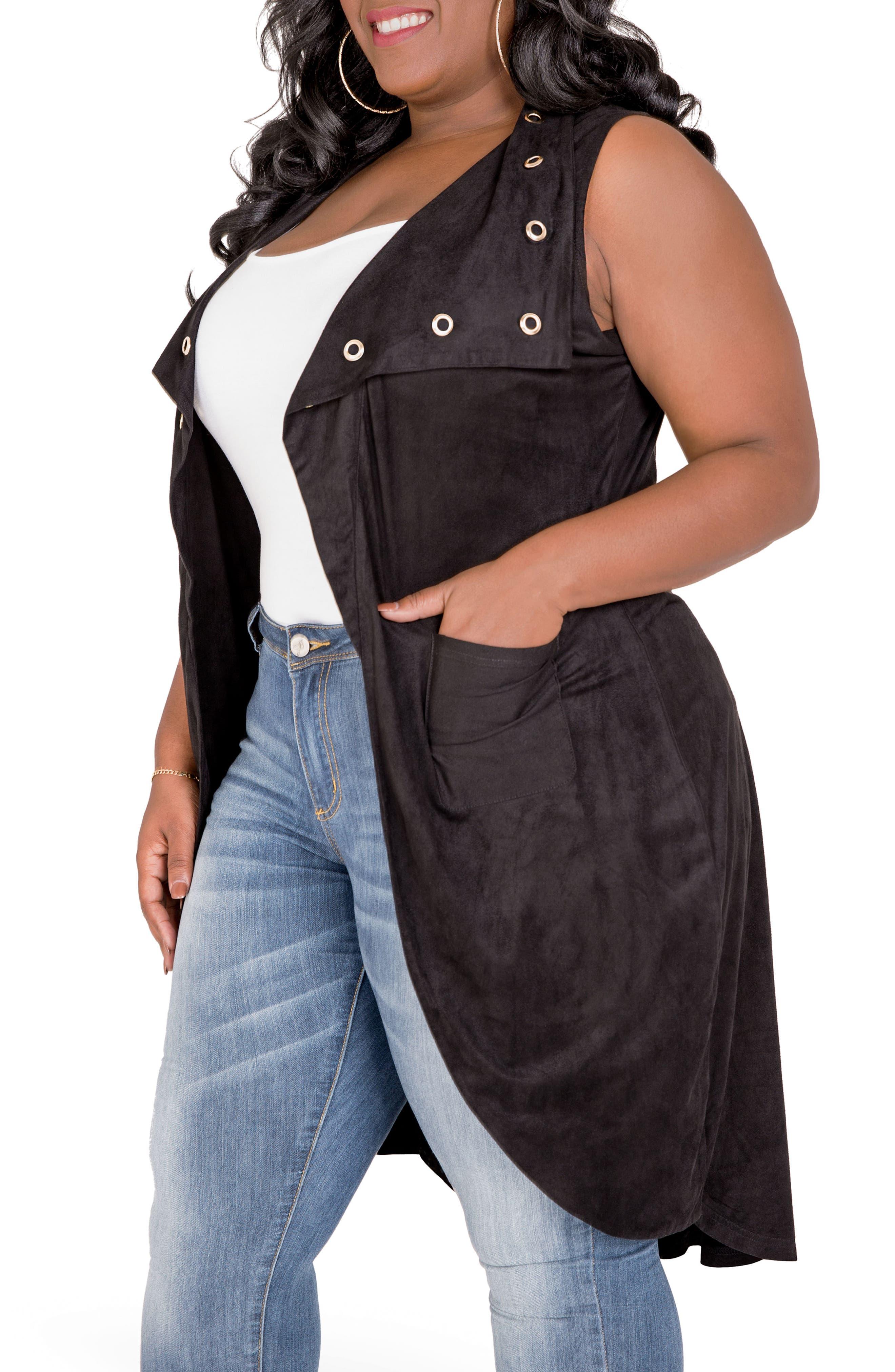 Kelis Long Faux Suede Vest,                             Alternate thumbnail 4, color,                             BLACK