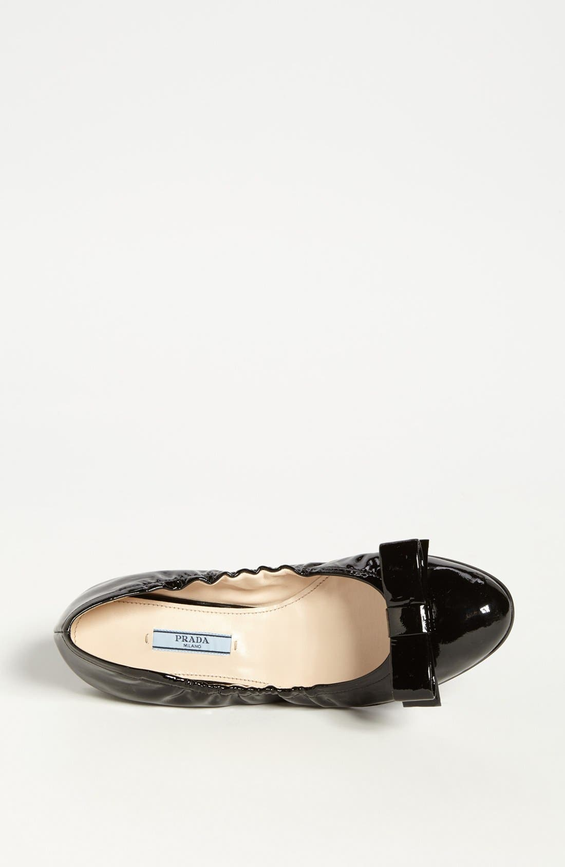 PRADA,                             Bow Ballet Flat,                             Alternate thumbnail 3, color,                             001