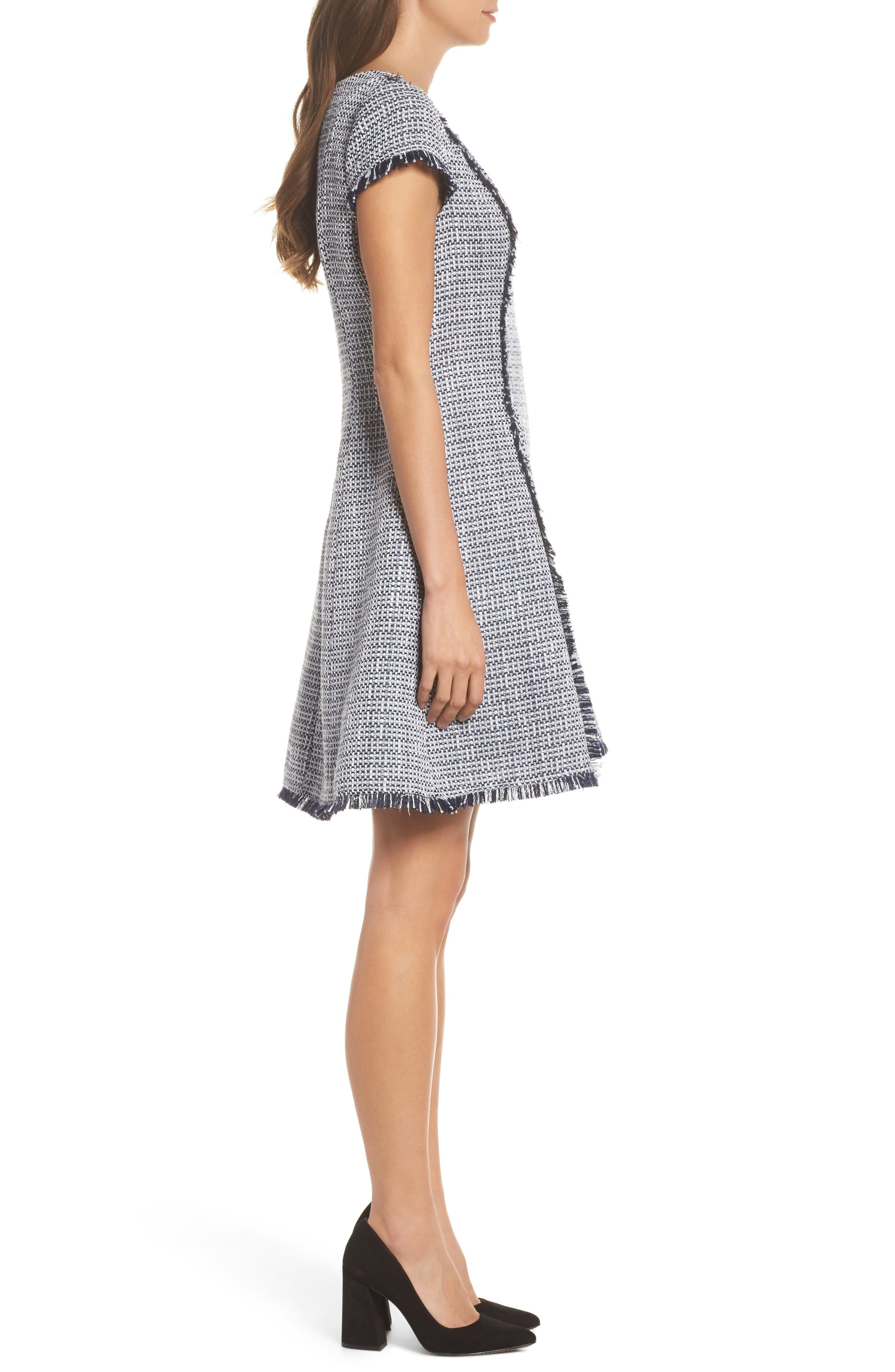 Tweed Fit & Flare Dress,                             Alternate thumbnail 3, color,                             410