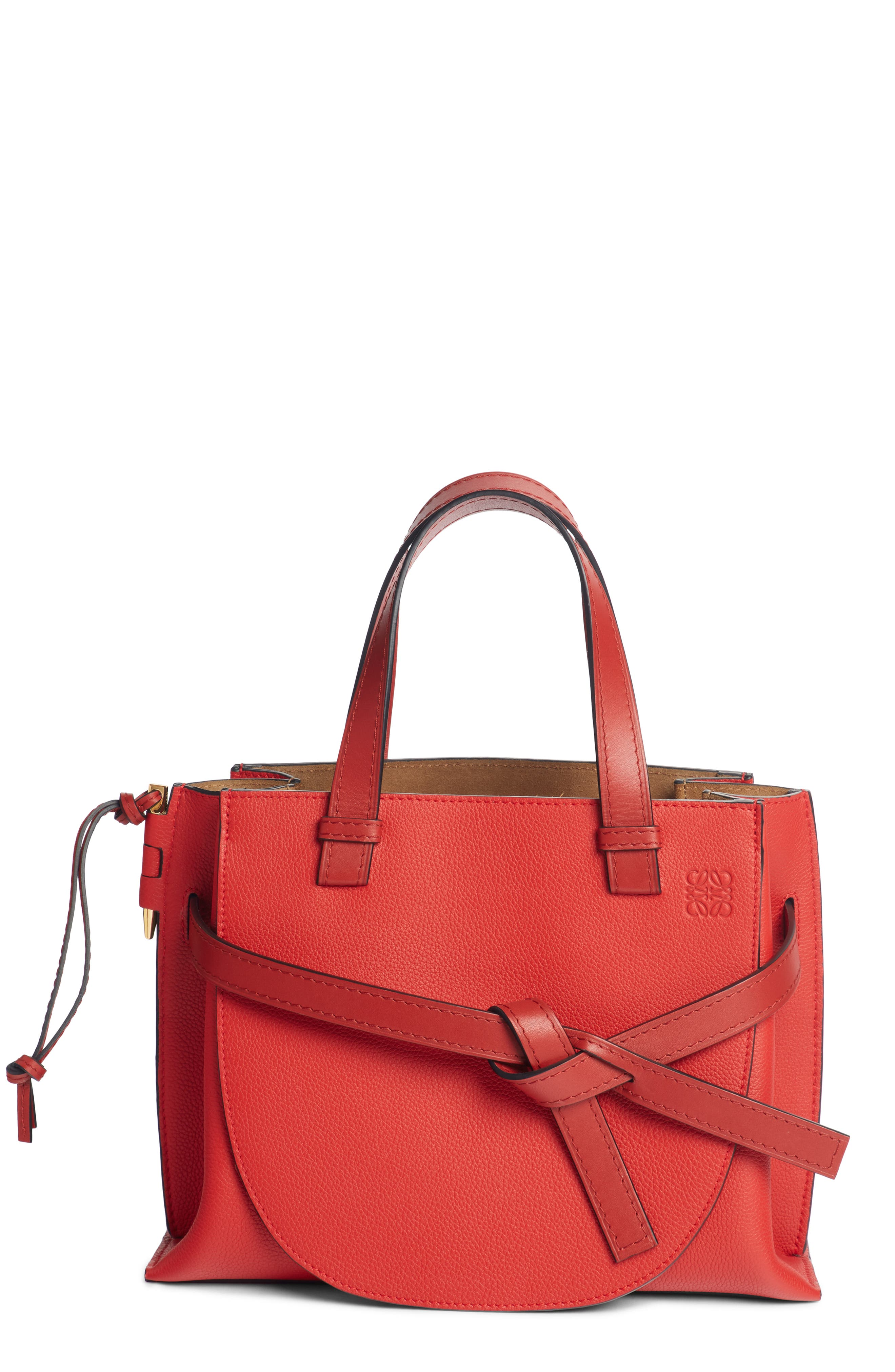 Gate Calfskin Leather Tote,                         Main,                         color, SCARLET RED/ BURNT RED