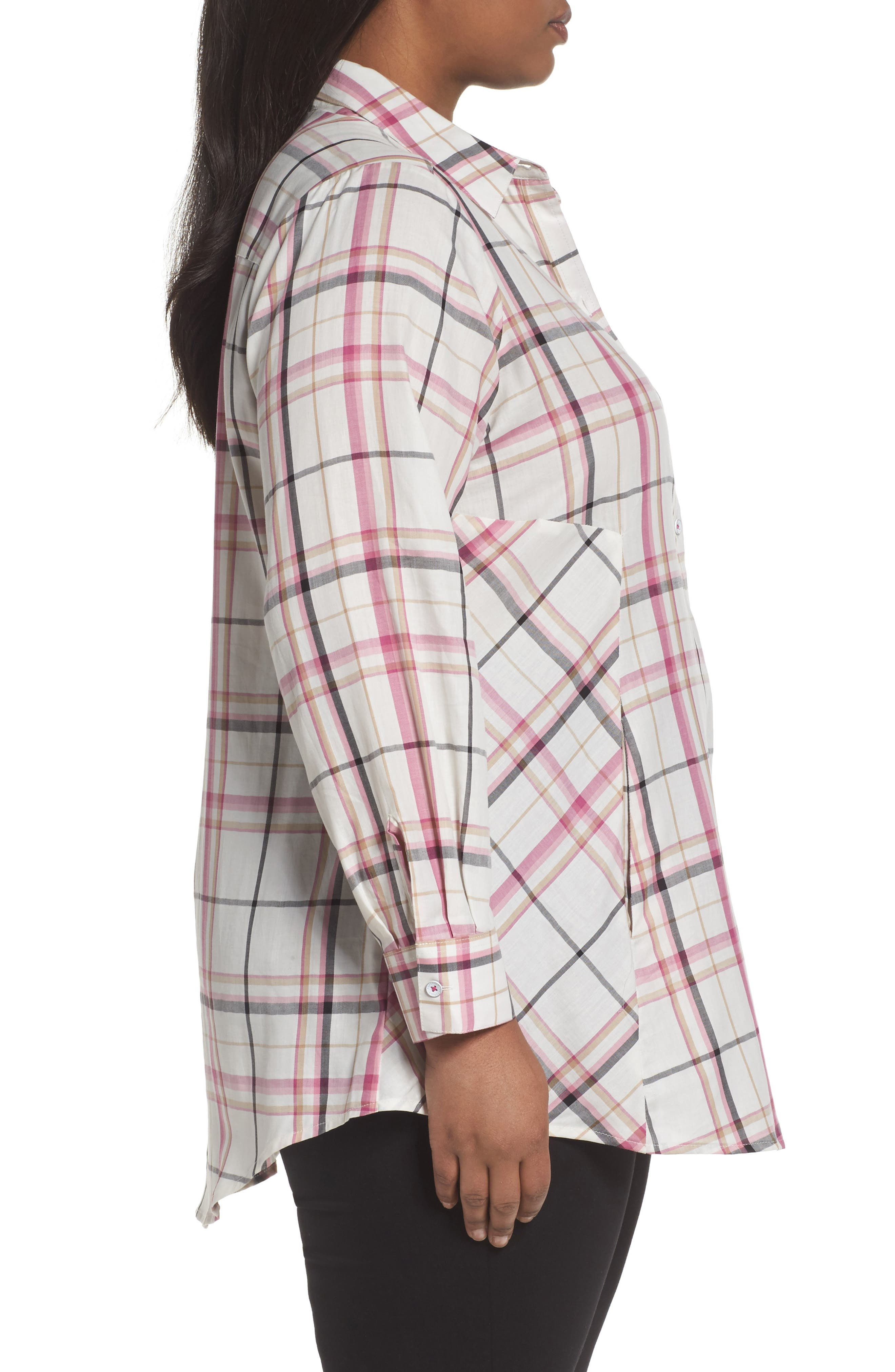 Cici Herringbone Plaid Tunic,                             Alternate thumbnail 3, color,                             ROSEBERRY