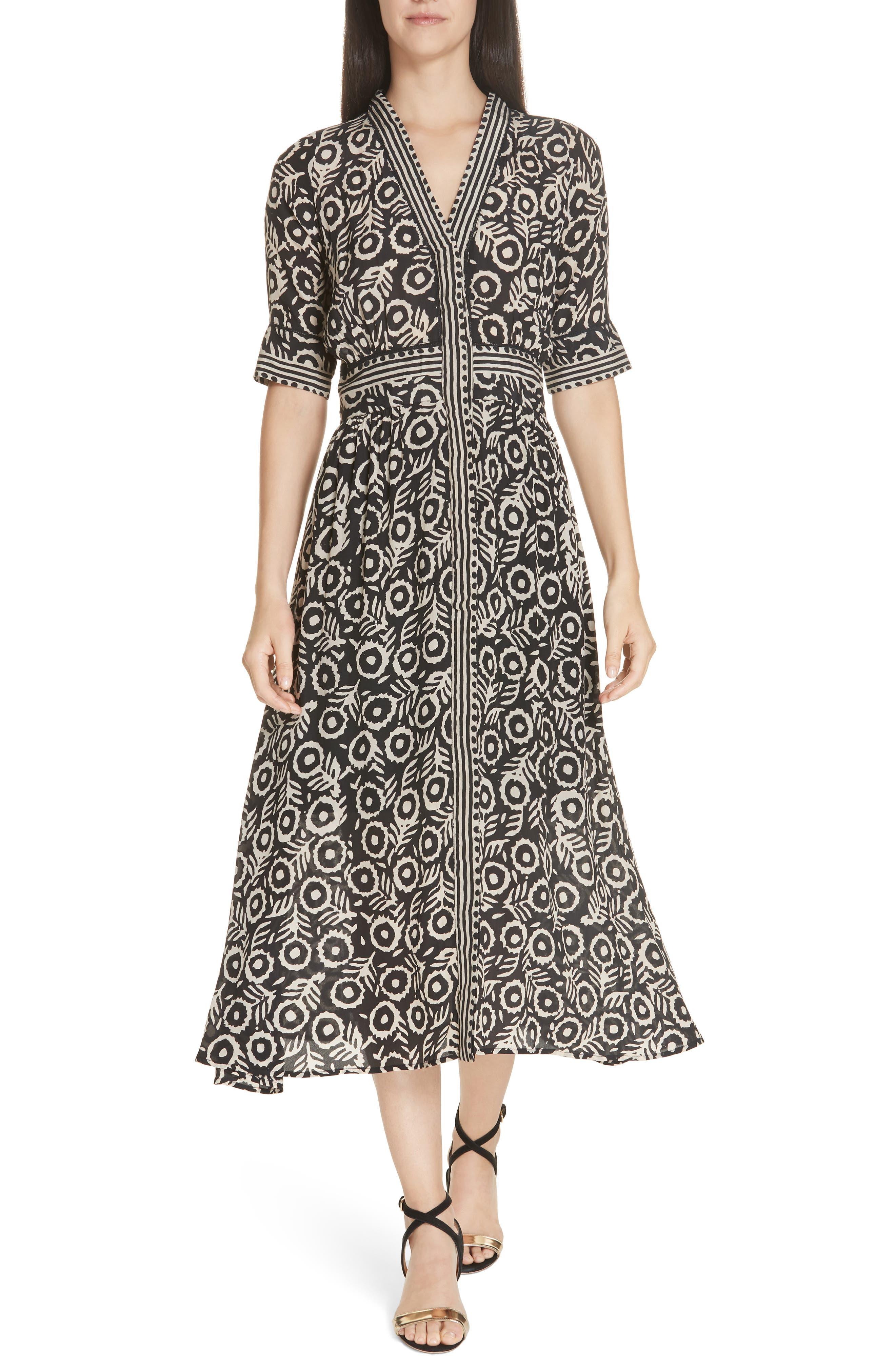 Sea Emi Print Stretch Cotton Midi Dress, Black
