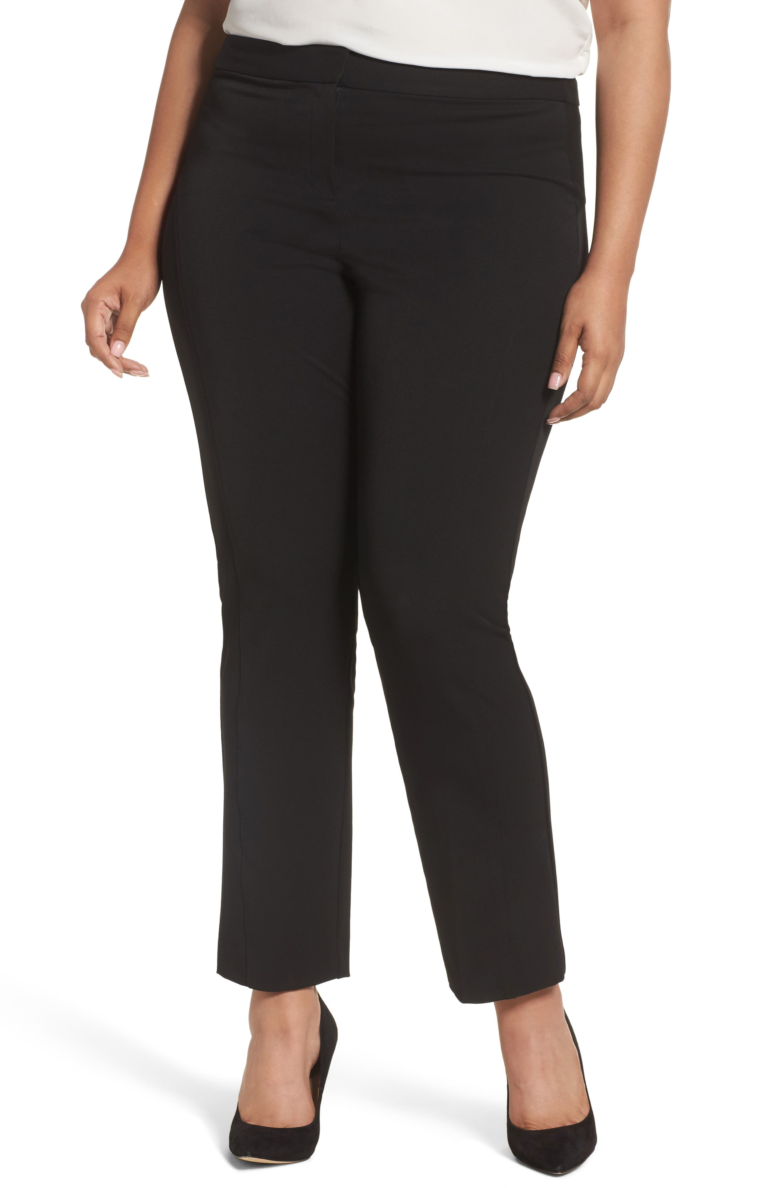 Stretch Twill Seamed Pants,                         Main,                         color, RICH BLACK