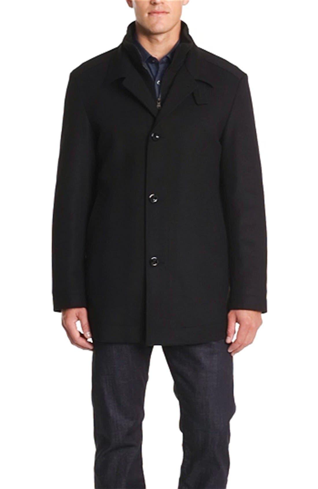 HUGO BOSS 'Coxtan' Wool & Cashmere Coat,                             Alternate thumbnail 4, color,                             001