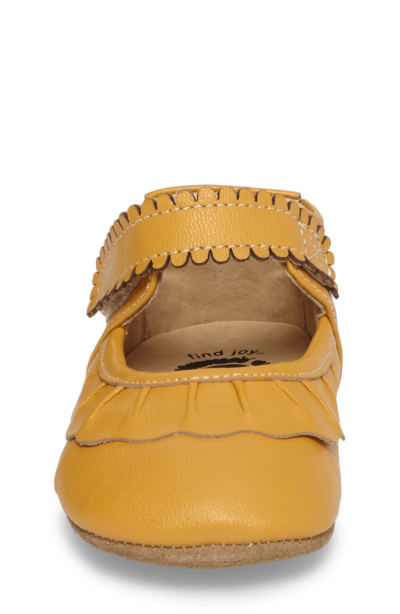 'Ruche' Mary Jane Crib Shoe,                             Alternate thumbnail 4, color,                             BUTTERSCOTCH LEATHER