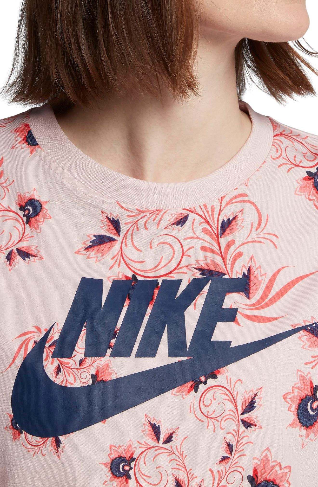 Sportswear Russian Floral Print Crop Tee,                             Alternate thumbnail 6, color,