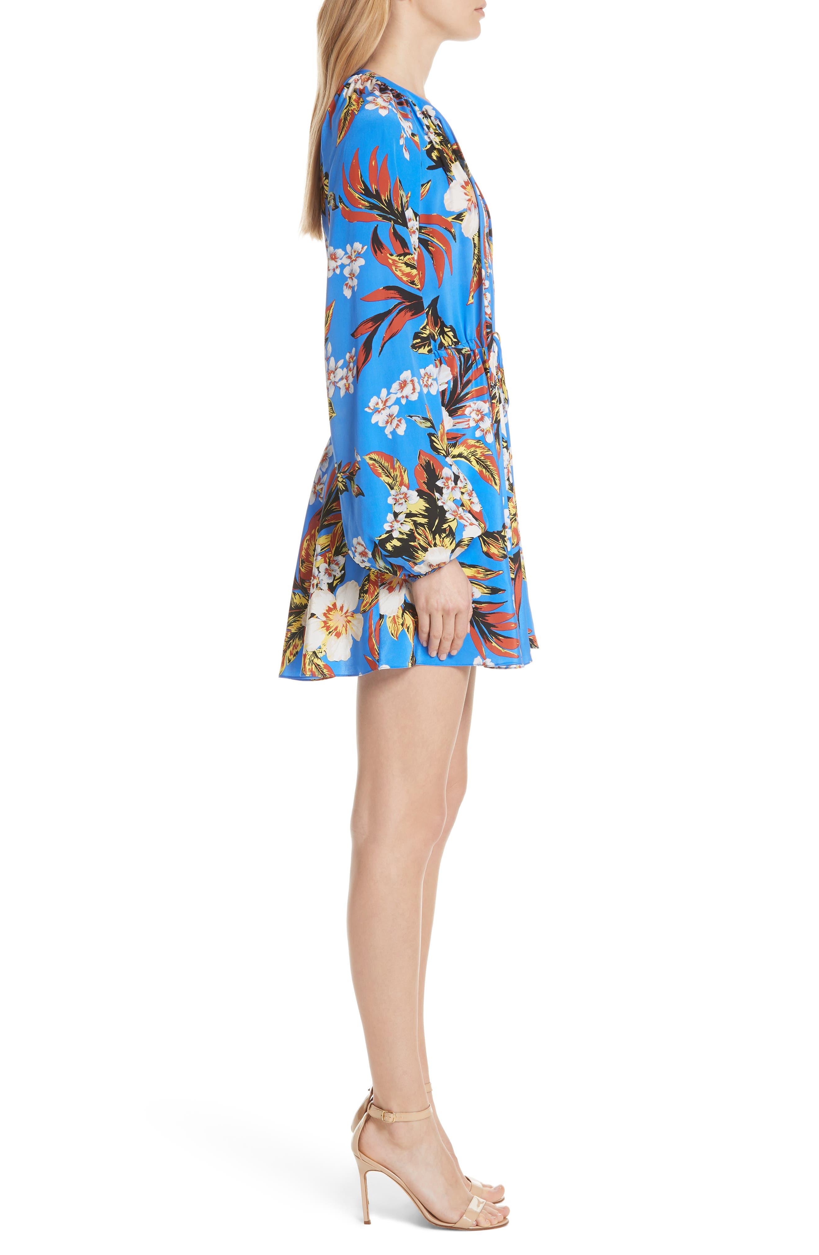 Tie Waist Floral Silk Dress,                             Alternate thumbnail 3, color,                             453