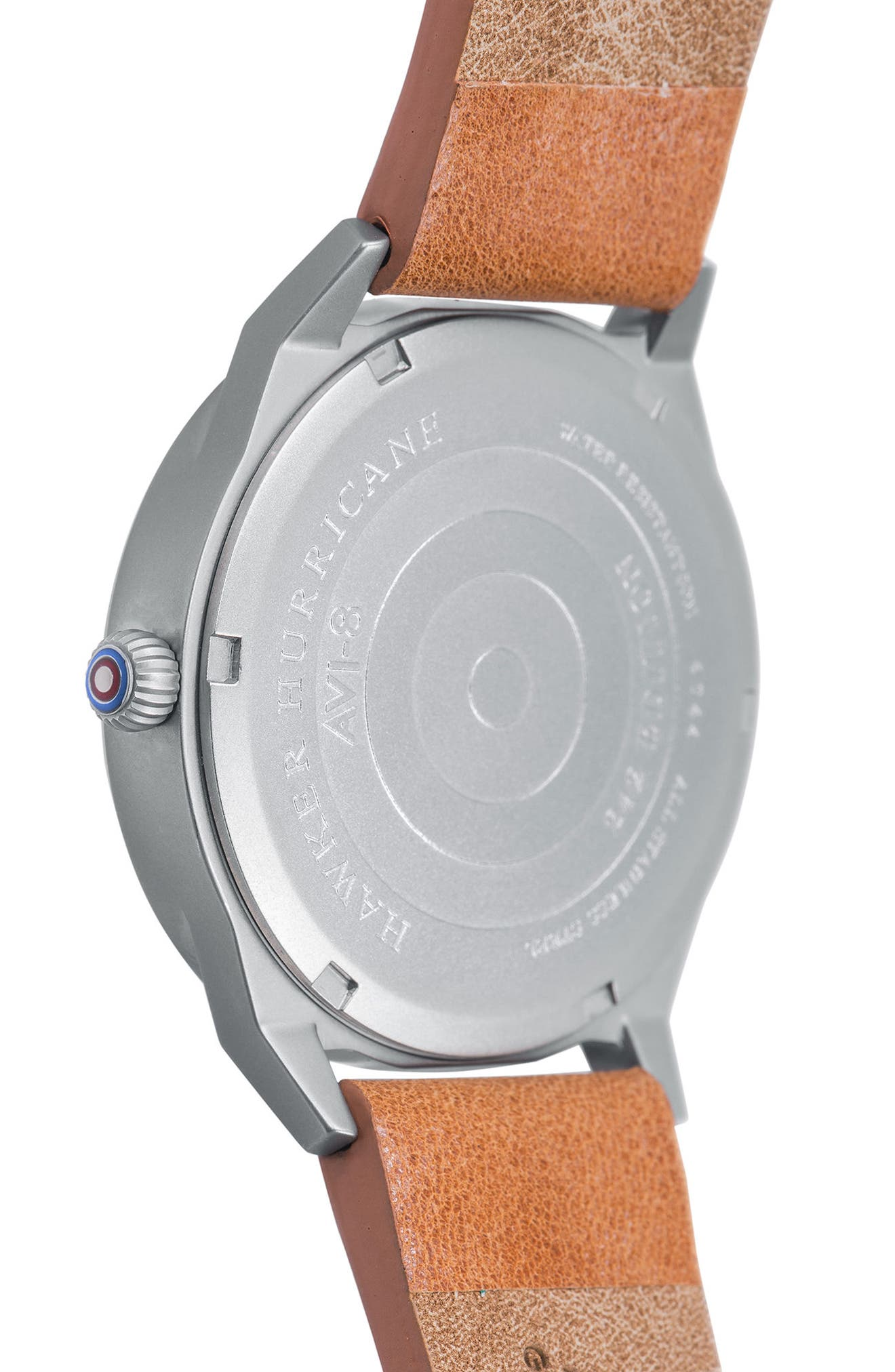 Hawker Hurricane Leather Strap Watch, 38mm,                             Alternate thumbnail 4, color,                             200