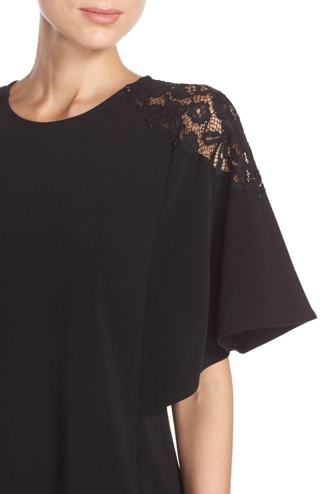 Lace Shoulder Crepe A-Line Dress,                             Alternate thumbnail 2, color,                             005