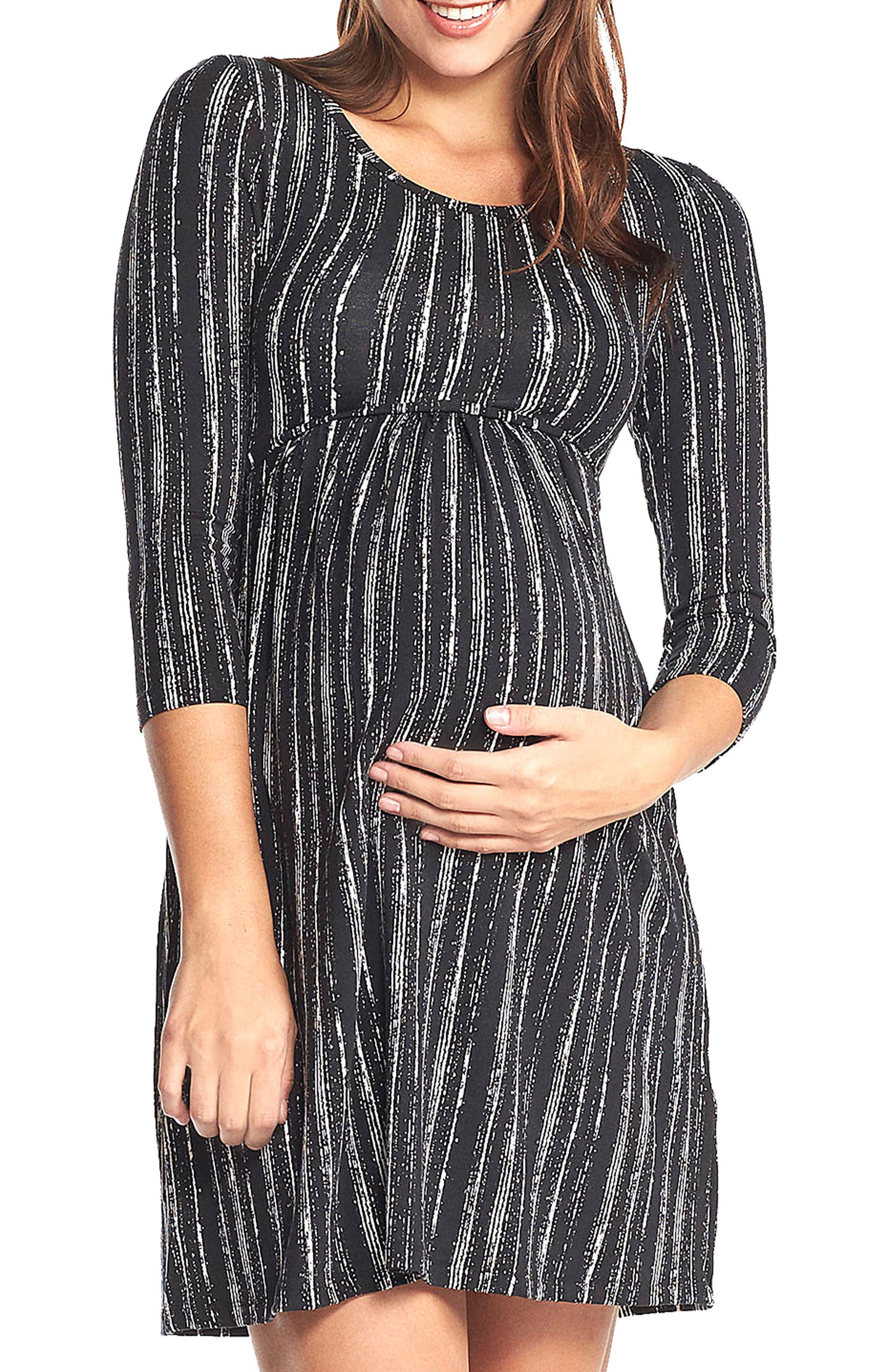'Mathilde' Elbow Sleeve Maternity Dress,                             Alternate thumbnail 2, color,                             DRY BRUSH STRIPE