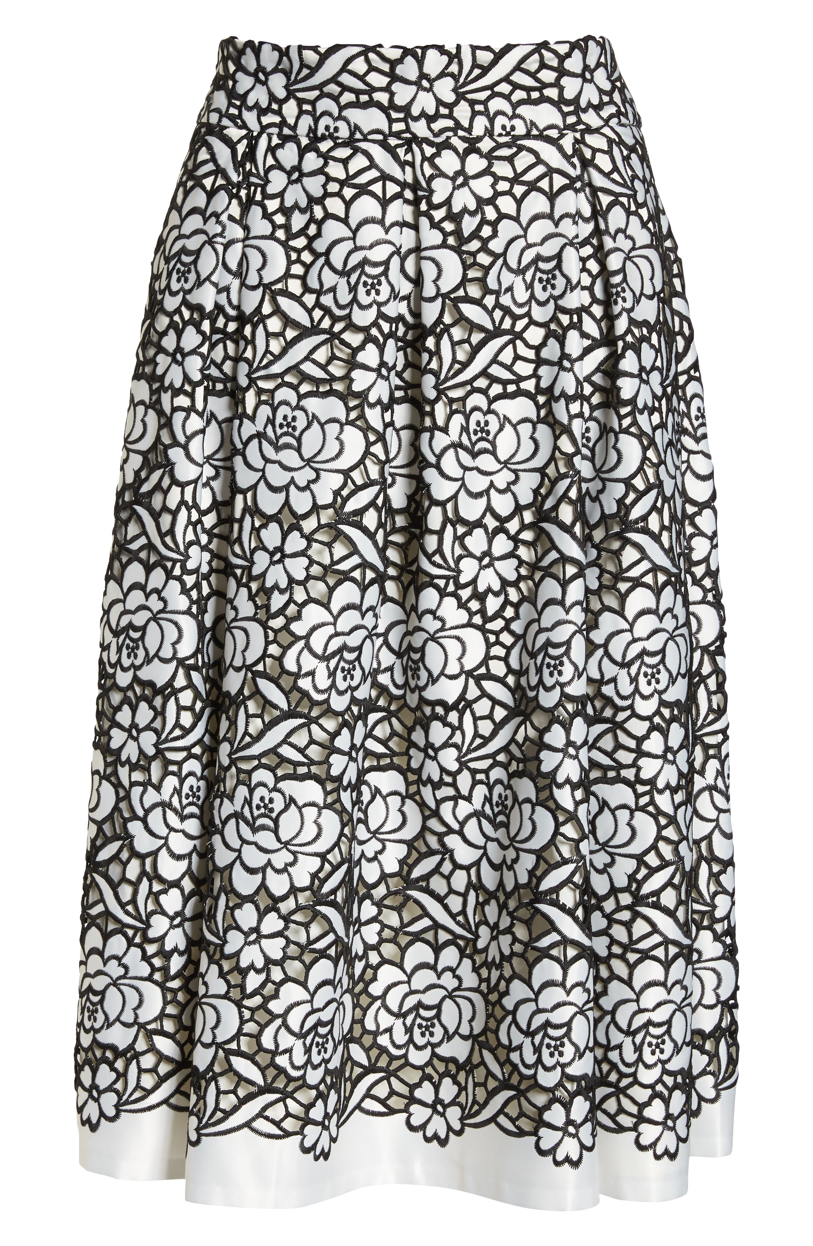 Pleated Floral Cutout Appliqué Skirt,                             Alternate thumbnail 6, color,                             BLACK/IVORY