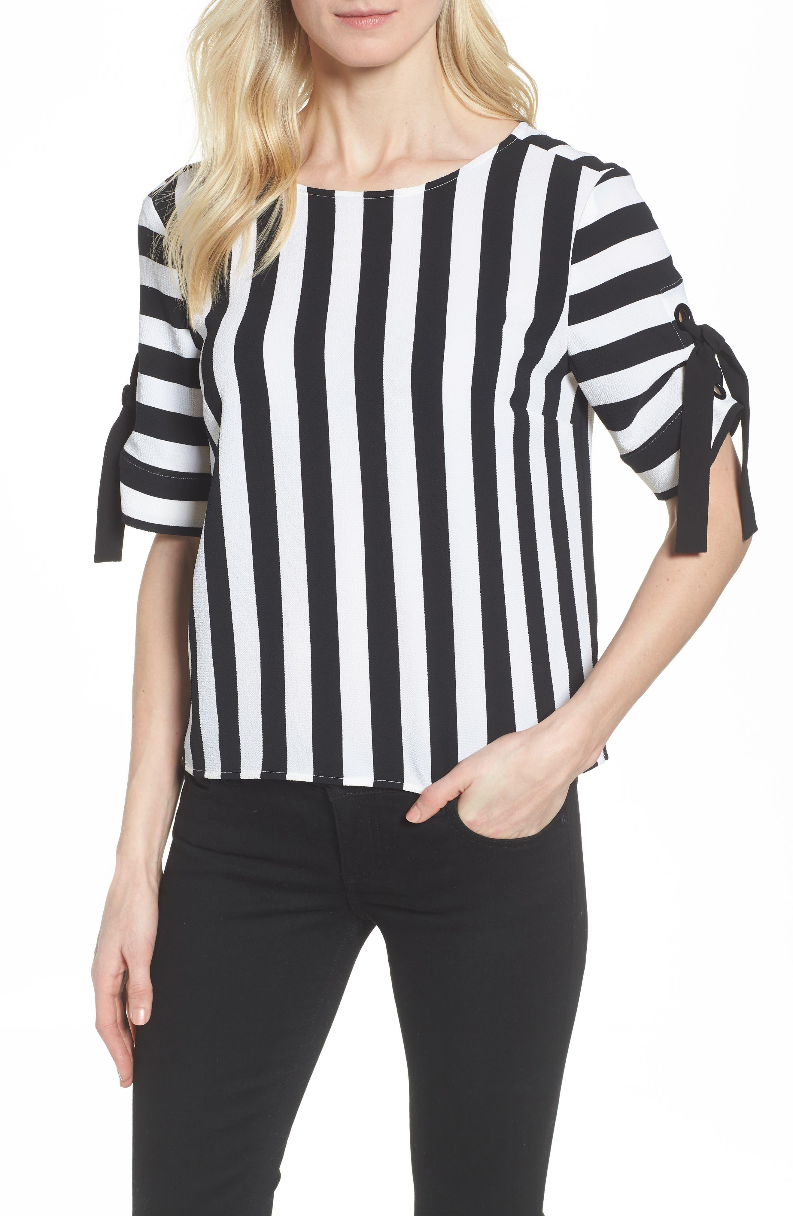 Spectator Stripe Tie Cuff Blouse,                         Main,                         color, 006