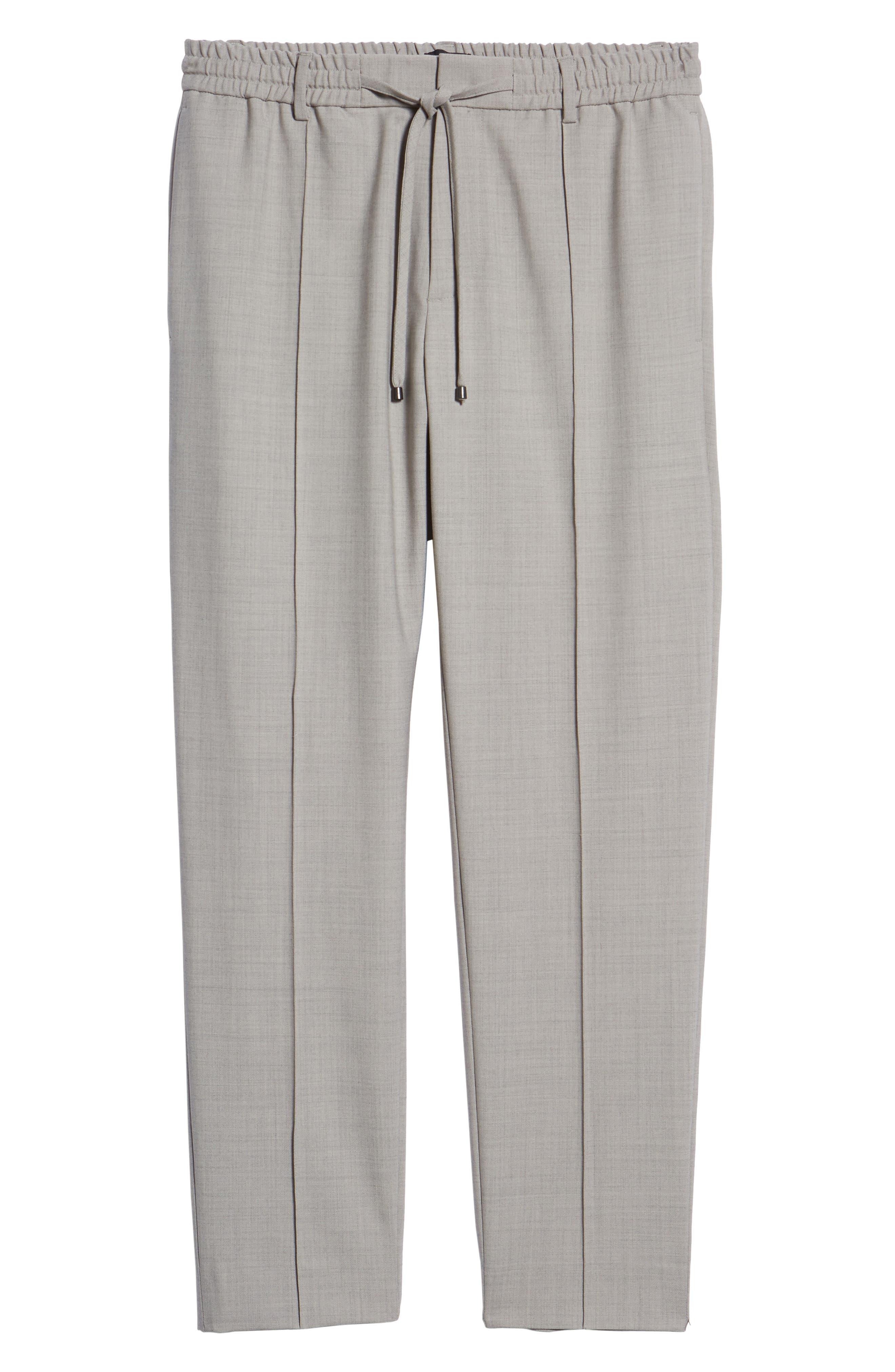 CLUB MONACO,                             Trim Fit Pintuck Pants,                             Alternate thumbnail 6, color,                             HEATHER GREY