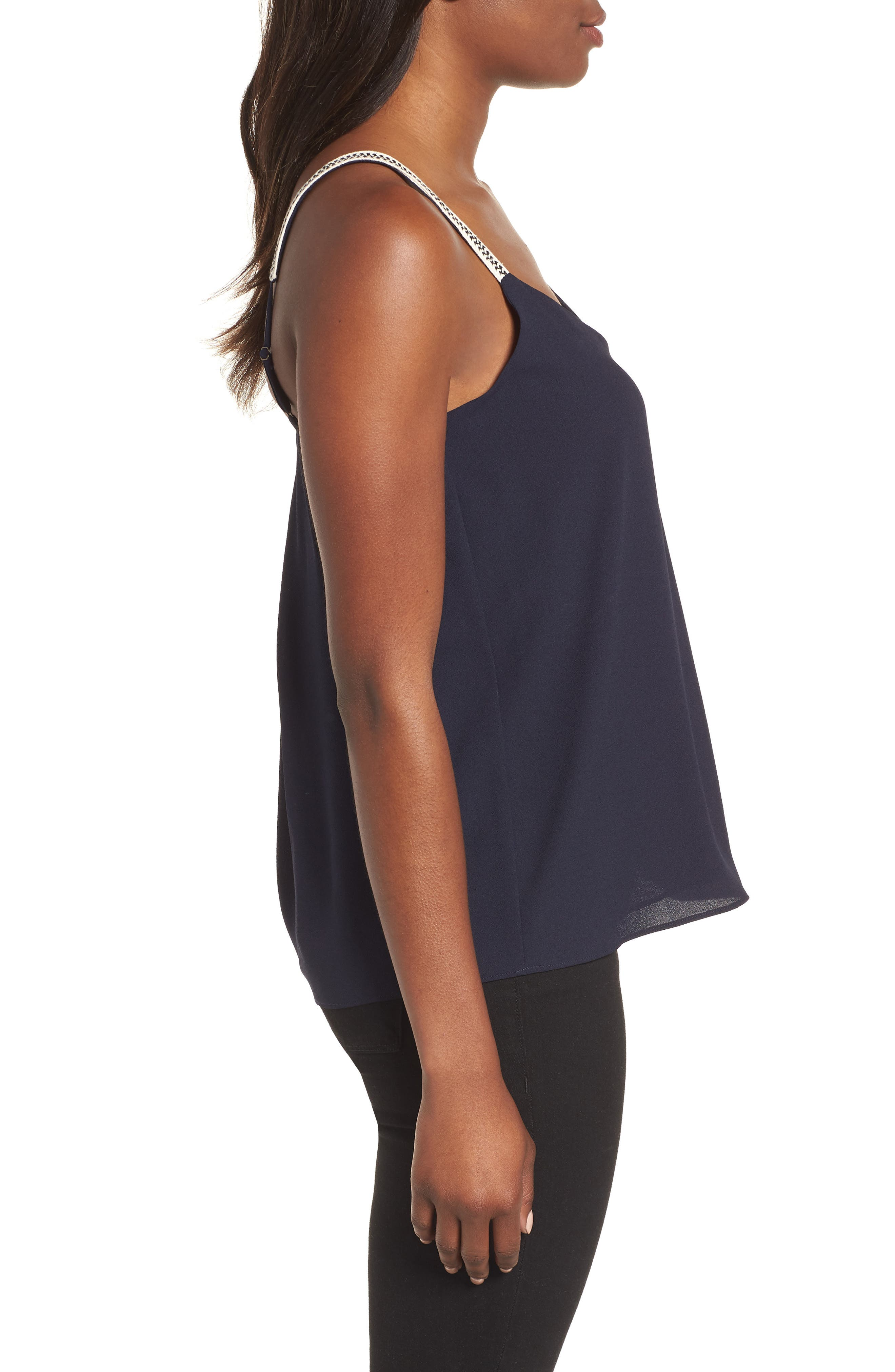 Embroidered Strap Camisole,                             Alternate thumbnail 3, color,                             NIGHT NAVY