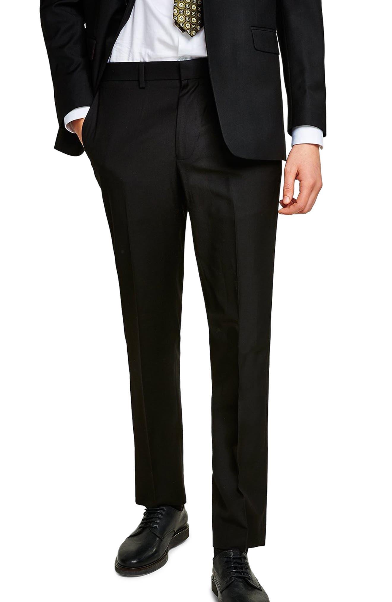 Slim Fit Suit Trousers,                         Main,                         color, BLACK