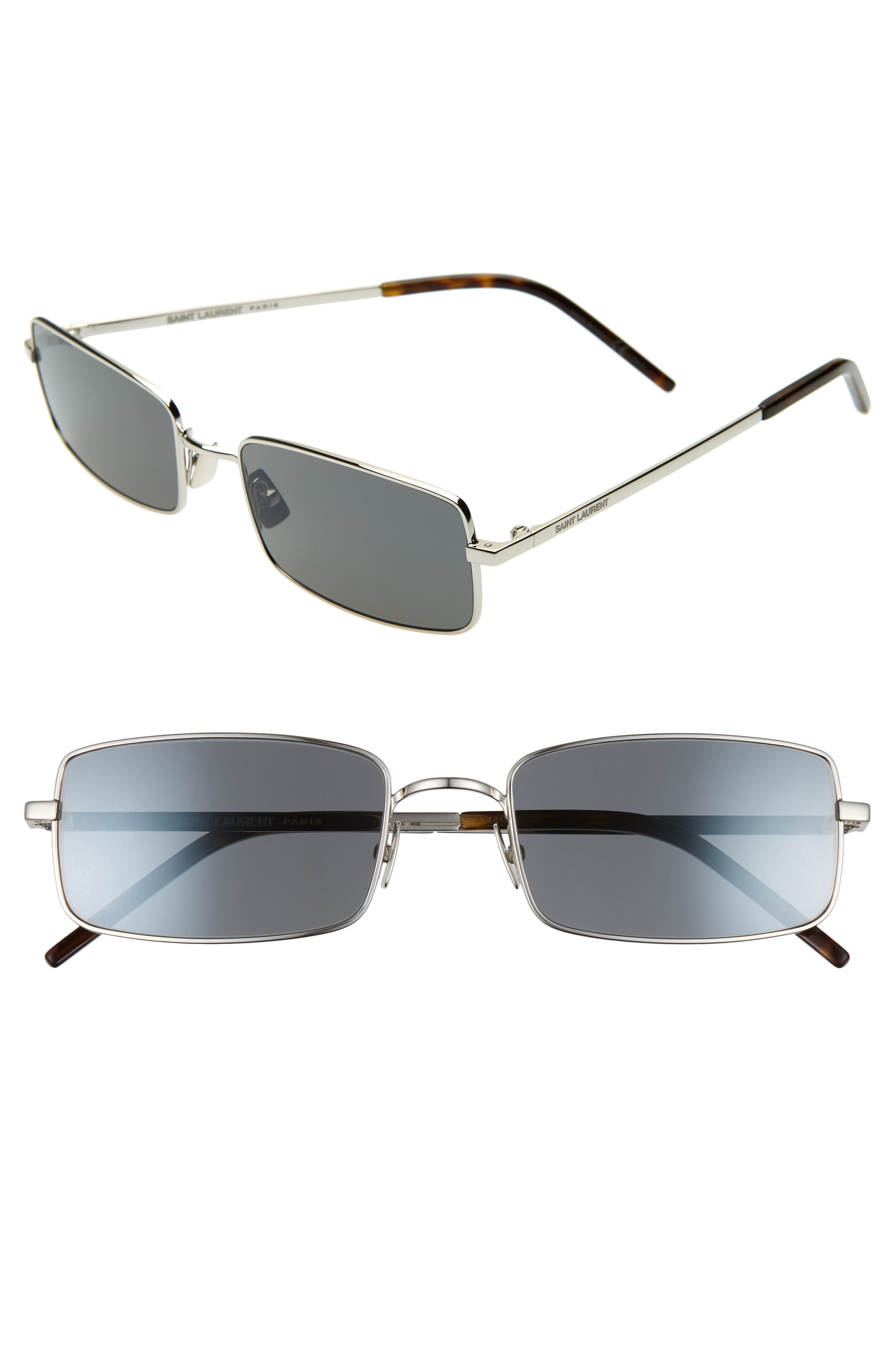 56mm Rectangle Sunglasses,                             Main thumbnail 1, color,                             SILVER/ GREY