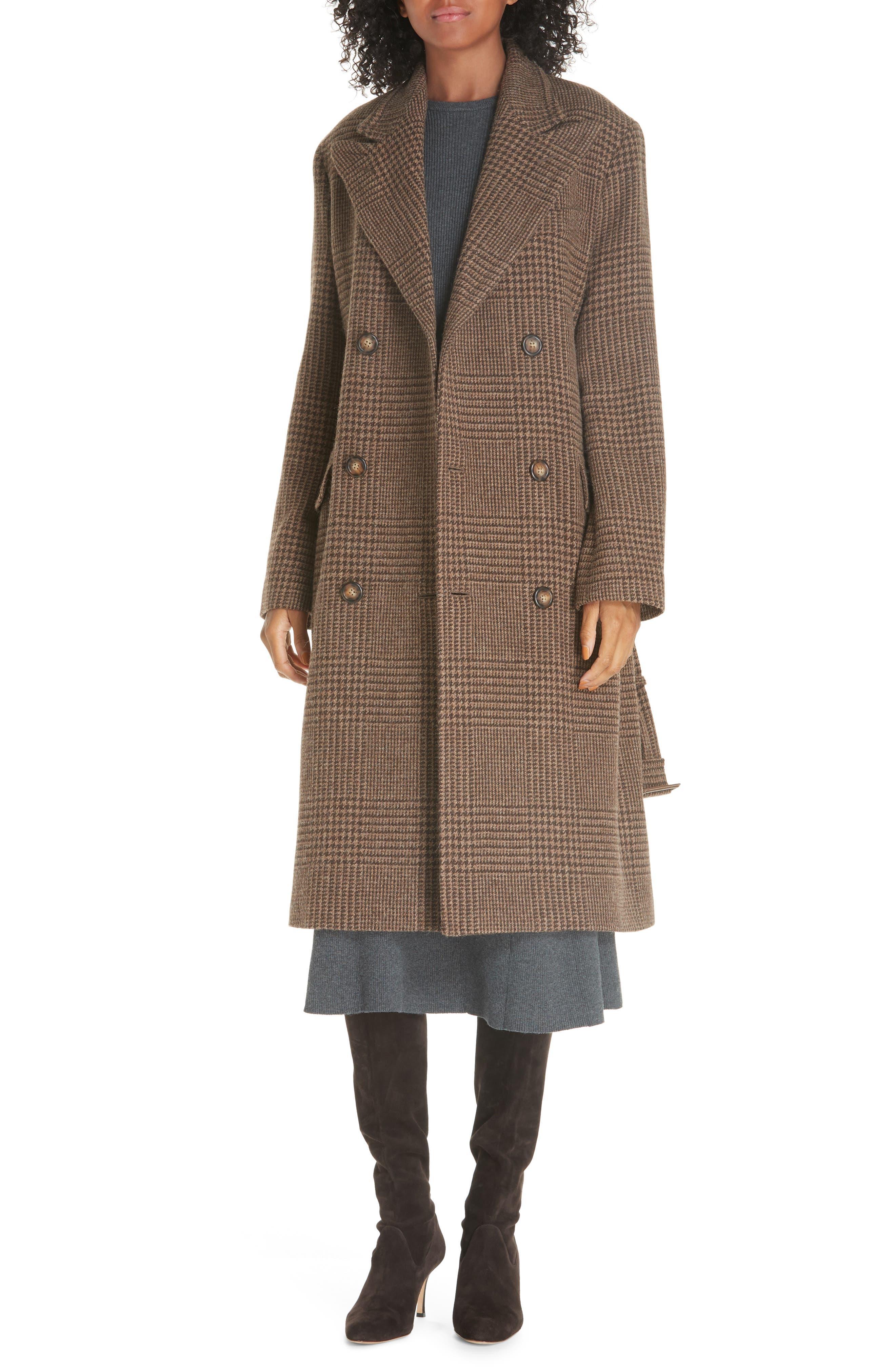 Plaid Lambswool & Alpaca Belted Coat,                         Main,                         color, BROWN GLEN PLAID