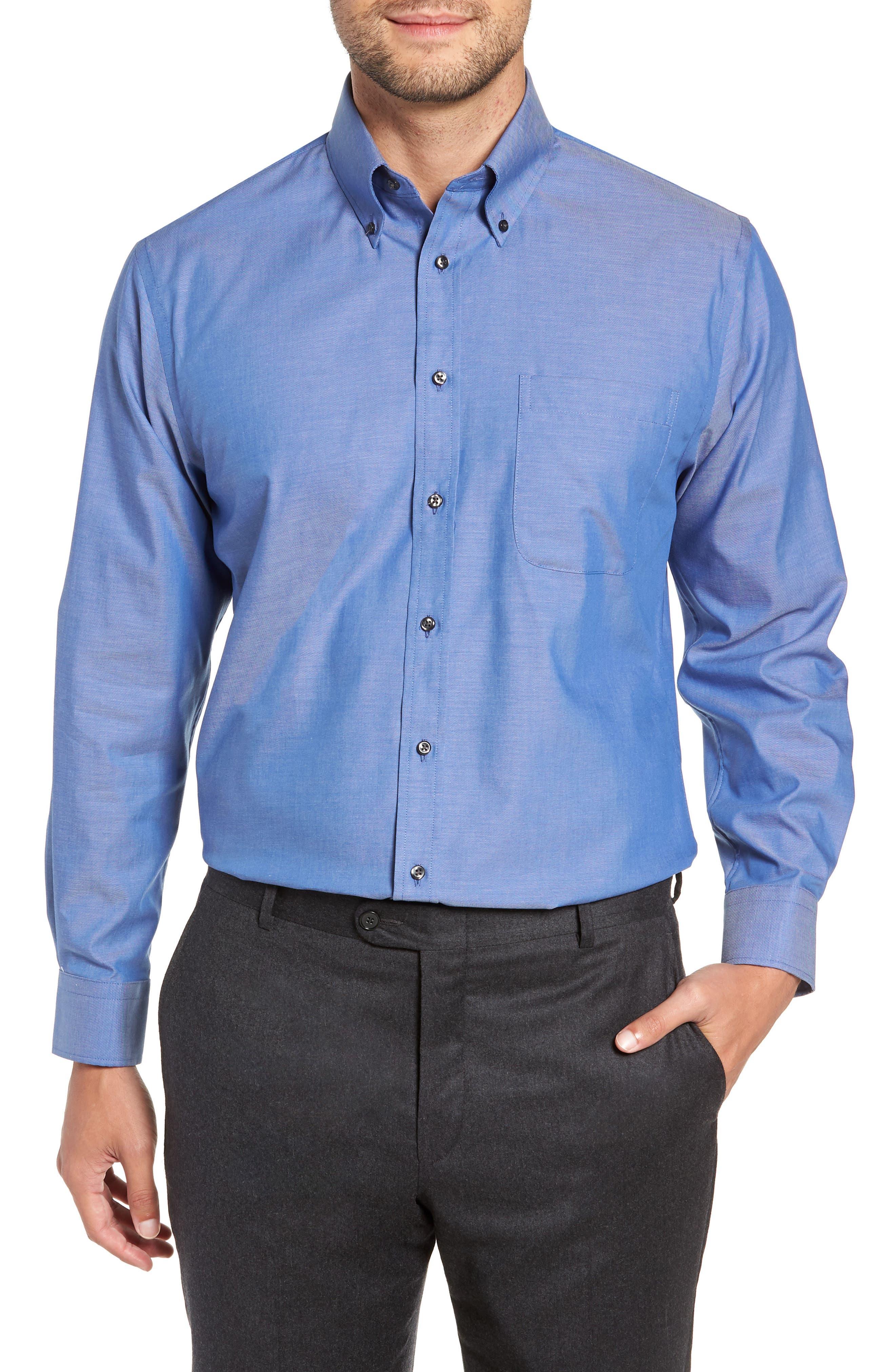 Traditional Fit Non-Iron Dress Shirt,                             Main thumbnail 1, color,                             BLUE DENIM