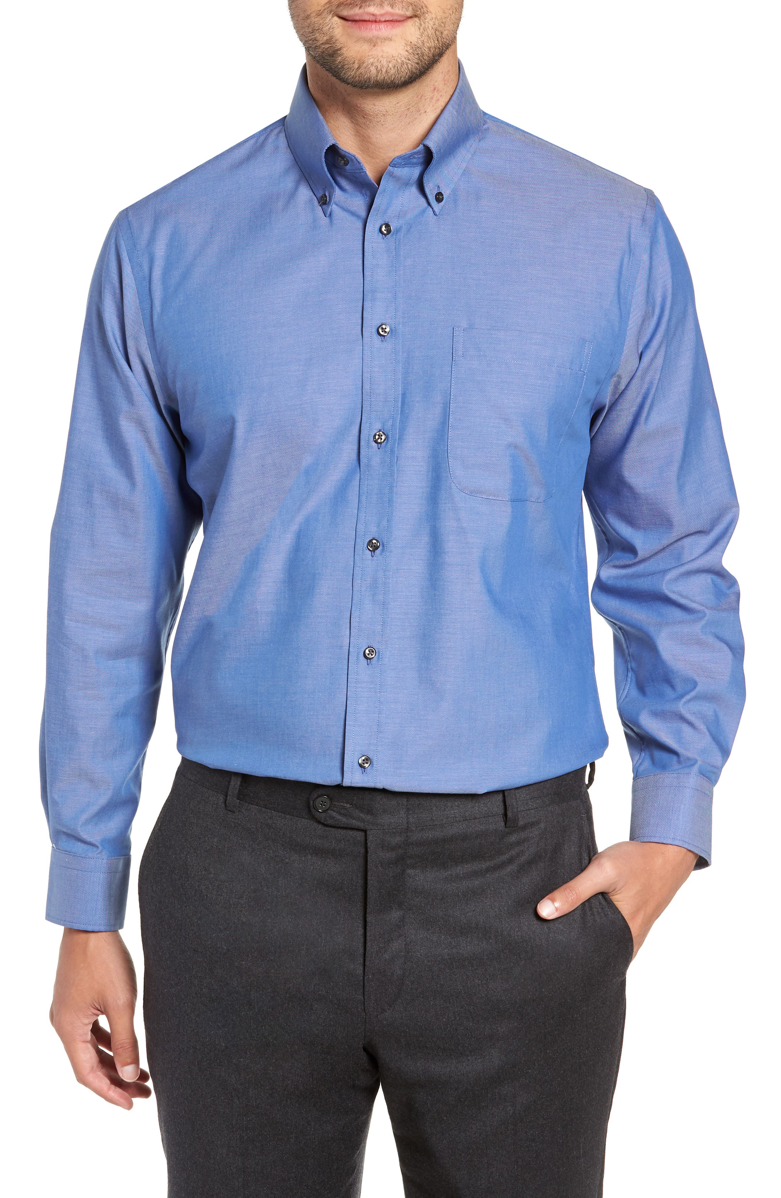 Traditional Fit Non-Iron Dress Shirt,                         Main,                         color, BLUE DENIM