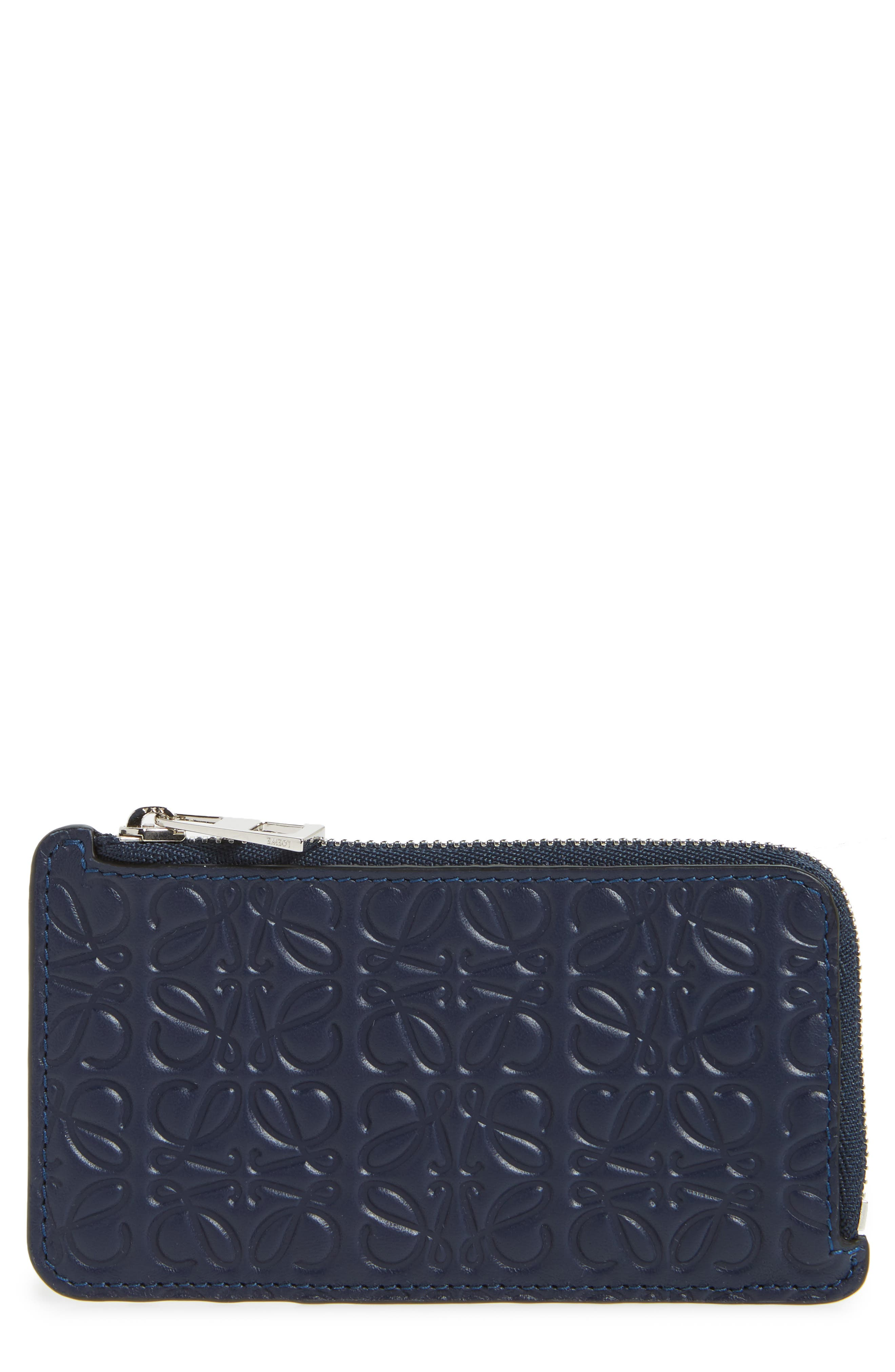 Coin & Card Zip Pouch,                             Main thumbnail 1, color,                             NAVY BLUE