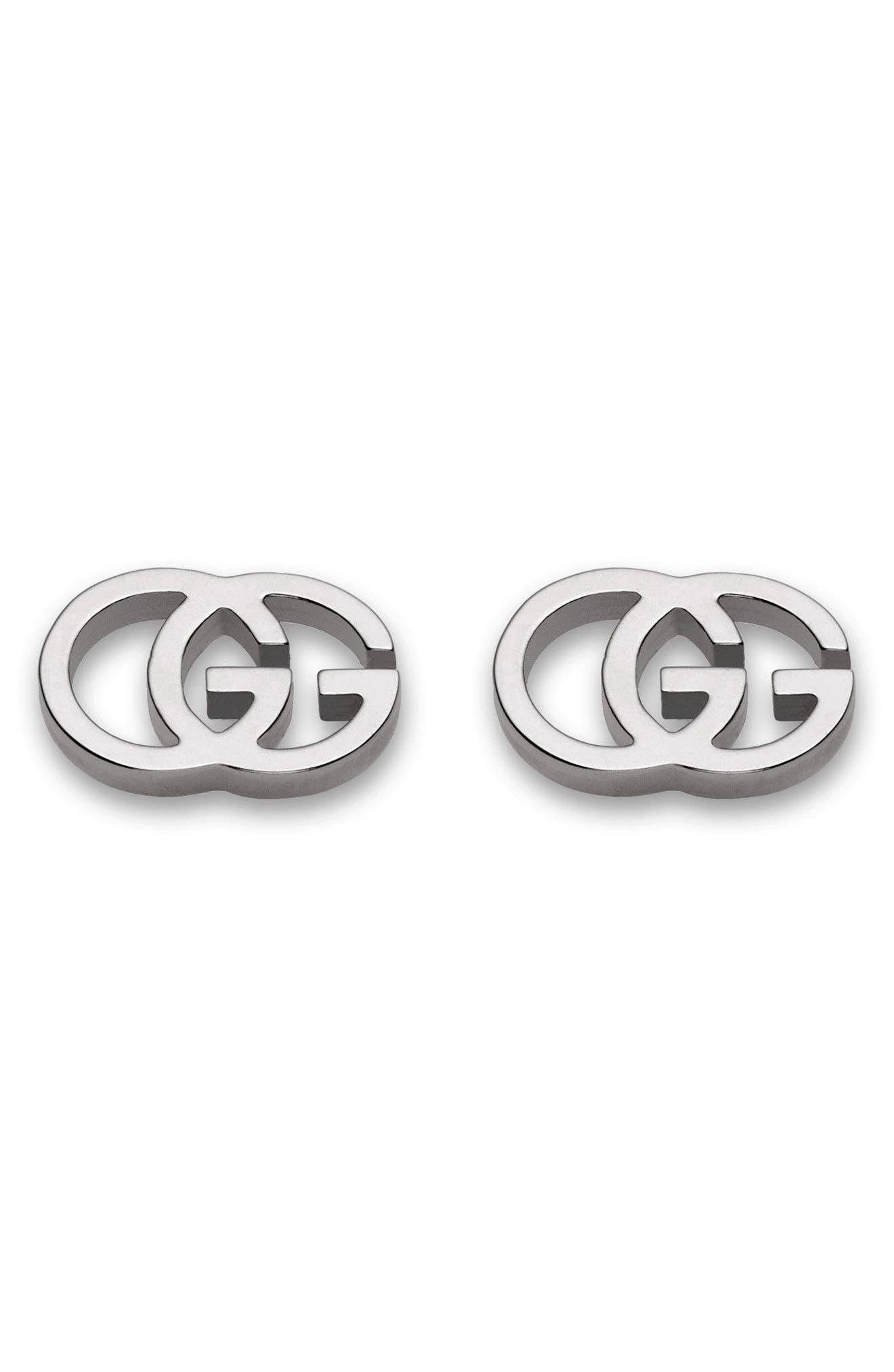 Double-G Stud Earrings,                             Main thumbnail 1, color,                             WHITE GOLD