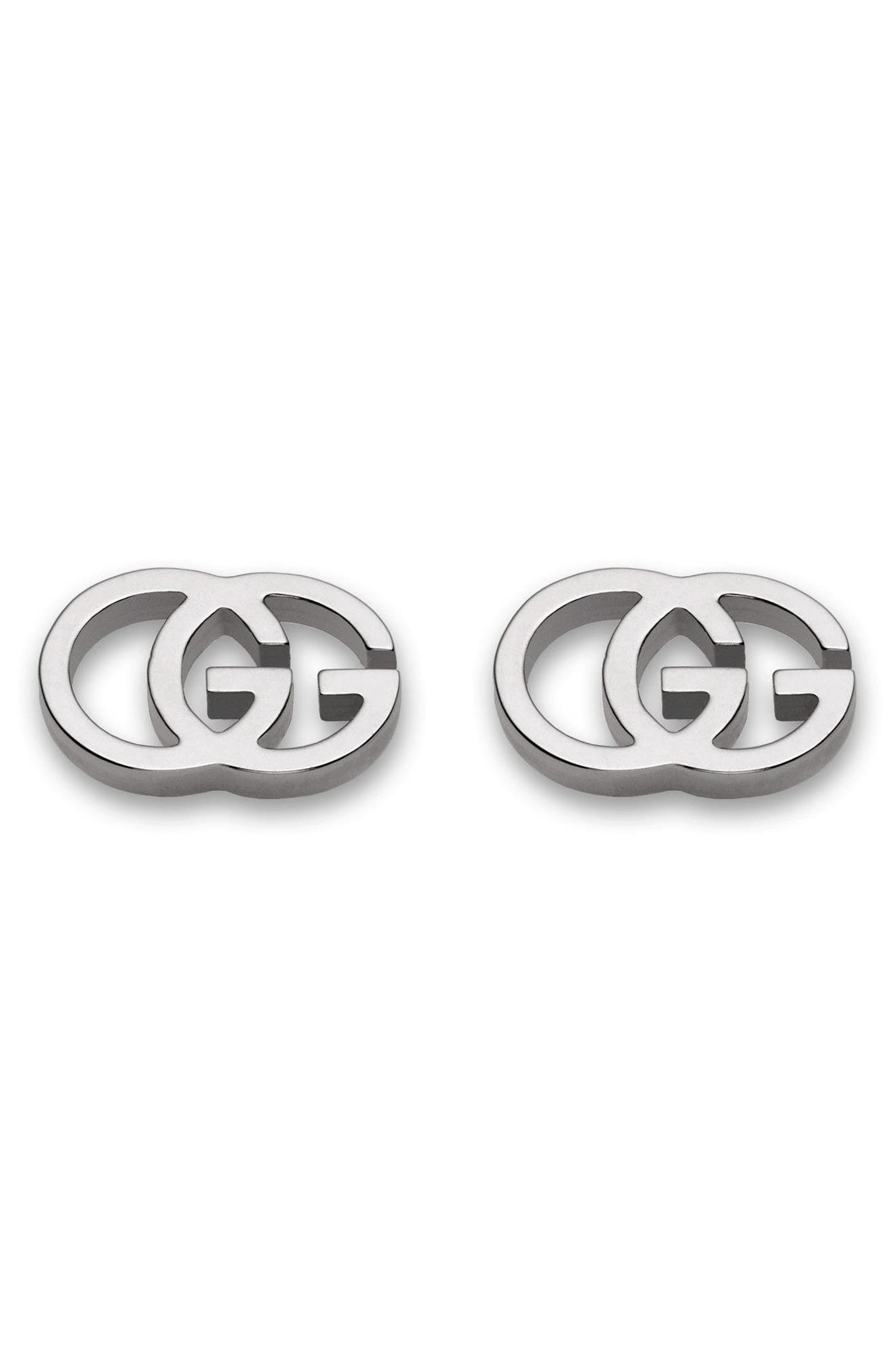Double-G Stud Earrings,                         Main,                         color, WHITE GOLD