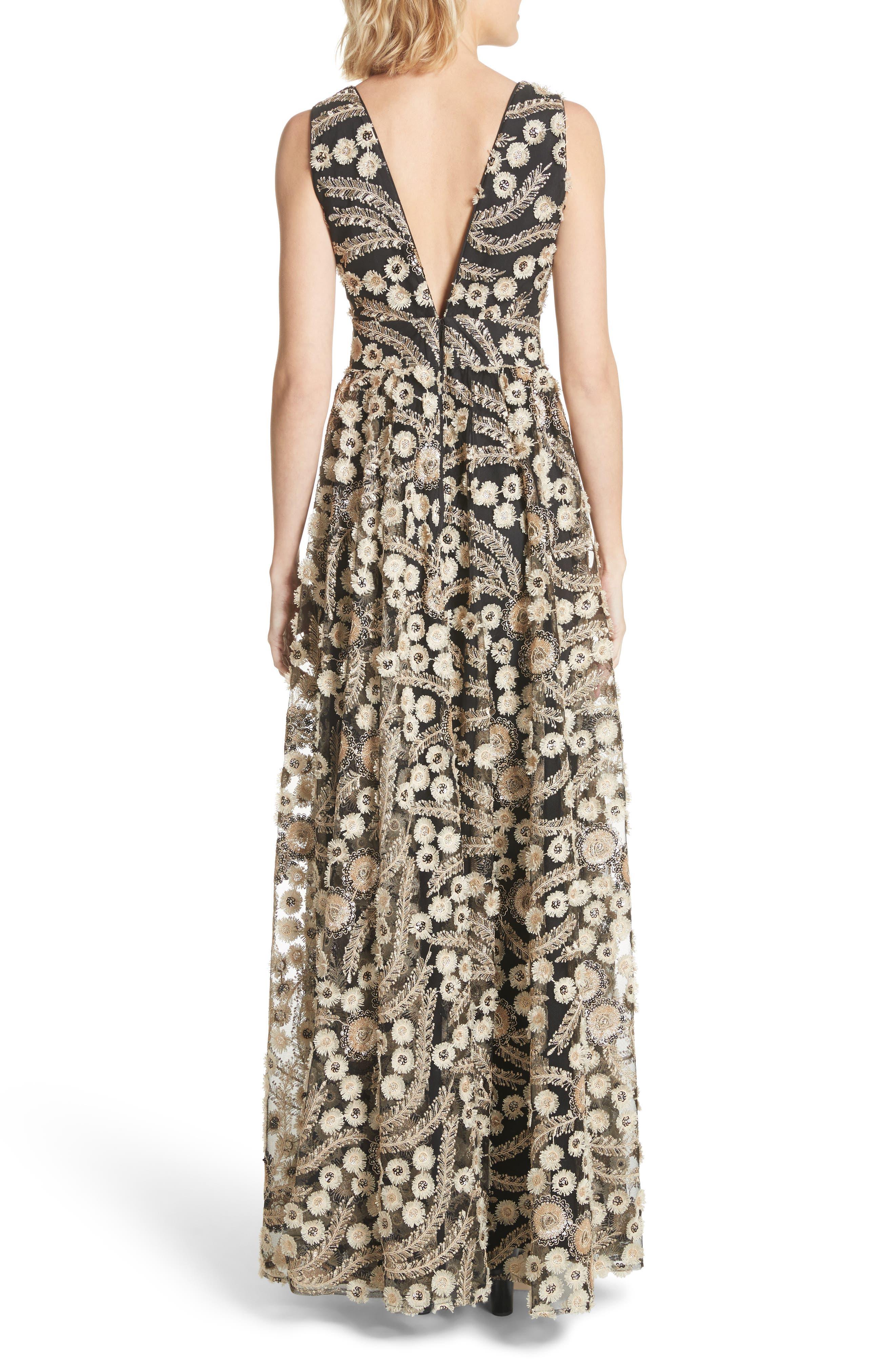 Embellished A-Line Maxi Dress,                             Alternate thumbnail 2, color,                             001