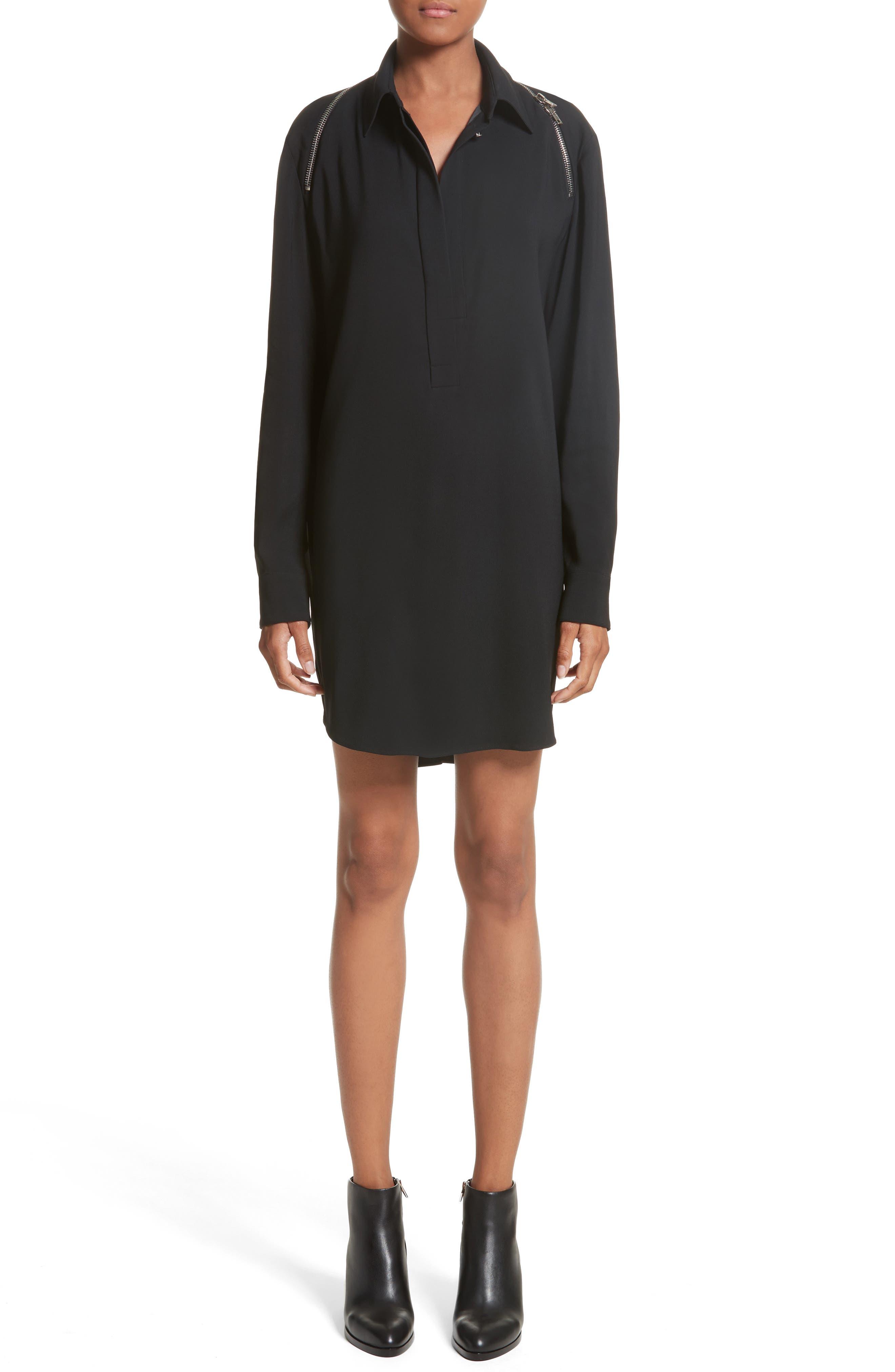 Zipper Shoulder Detail Dress,                             Main thumbnail 1, color,                             001