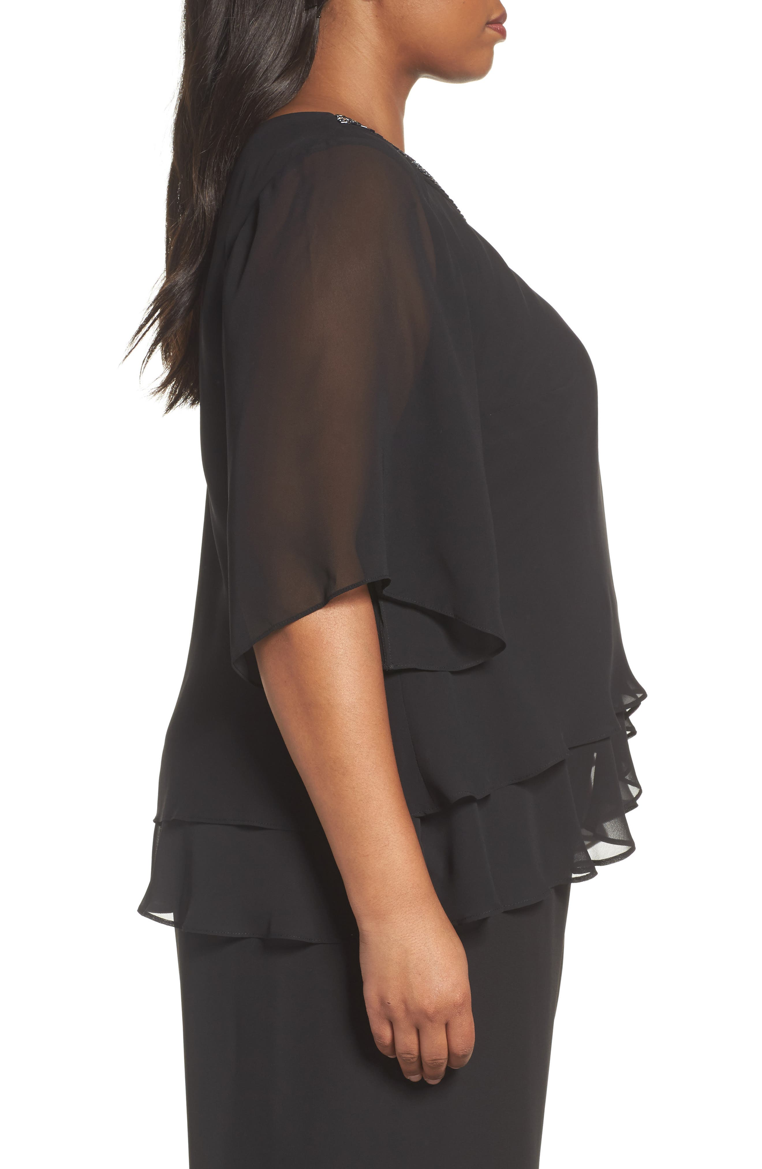 Embellished Tiered Chiffon Blouse,                             Alternate thumbnail 3, color,                             001