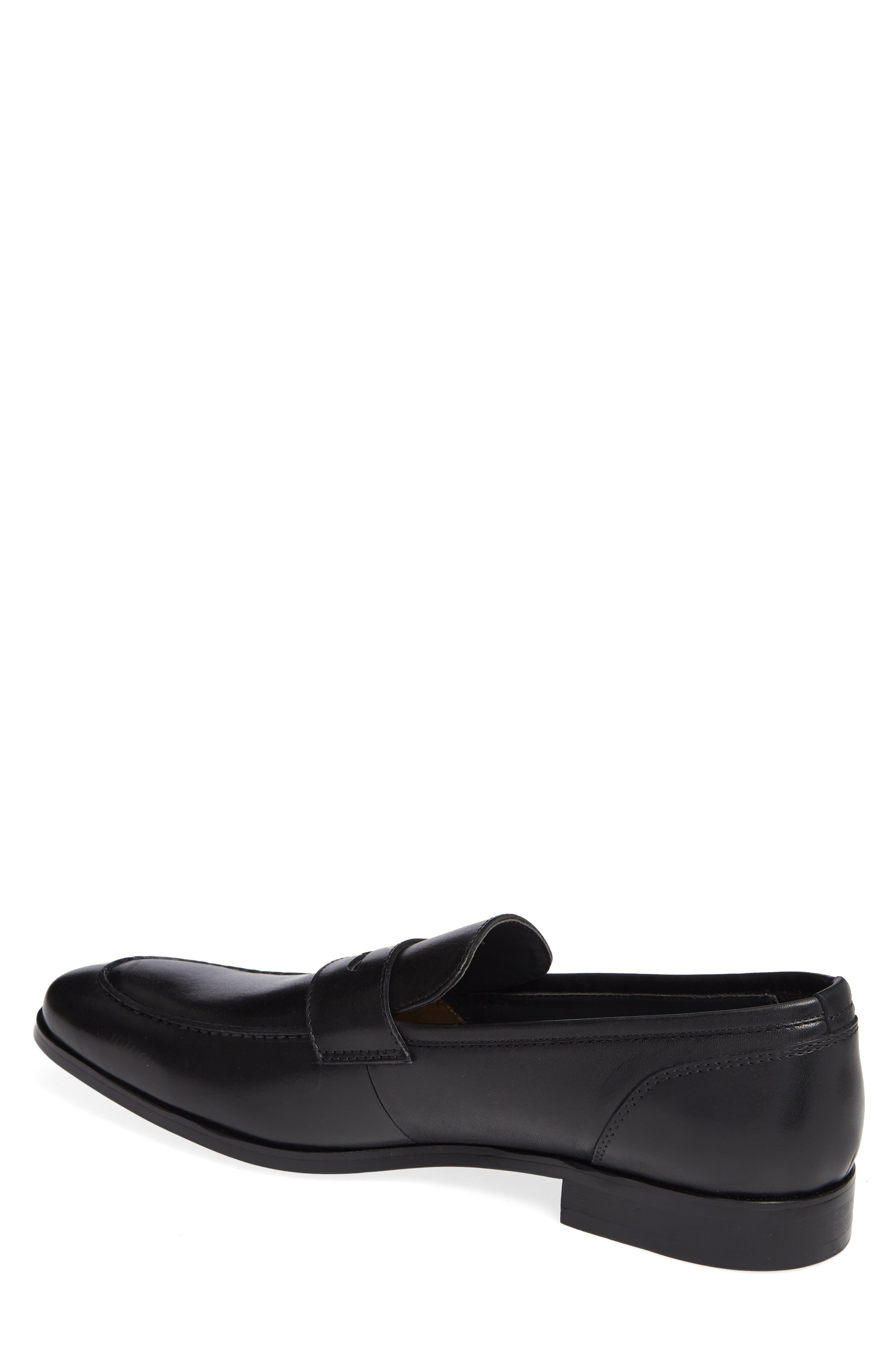 Denio Apron Toe Penny Loafer,                             Alternate thumbnail 2, color,                             BLACK LEATHER