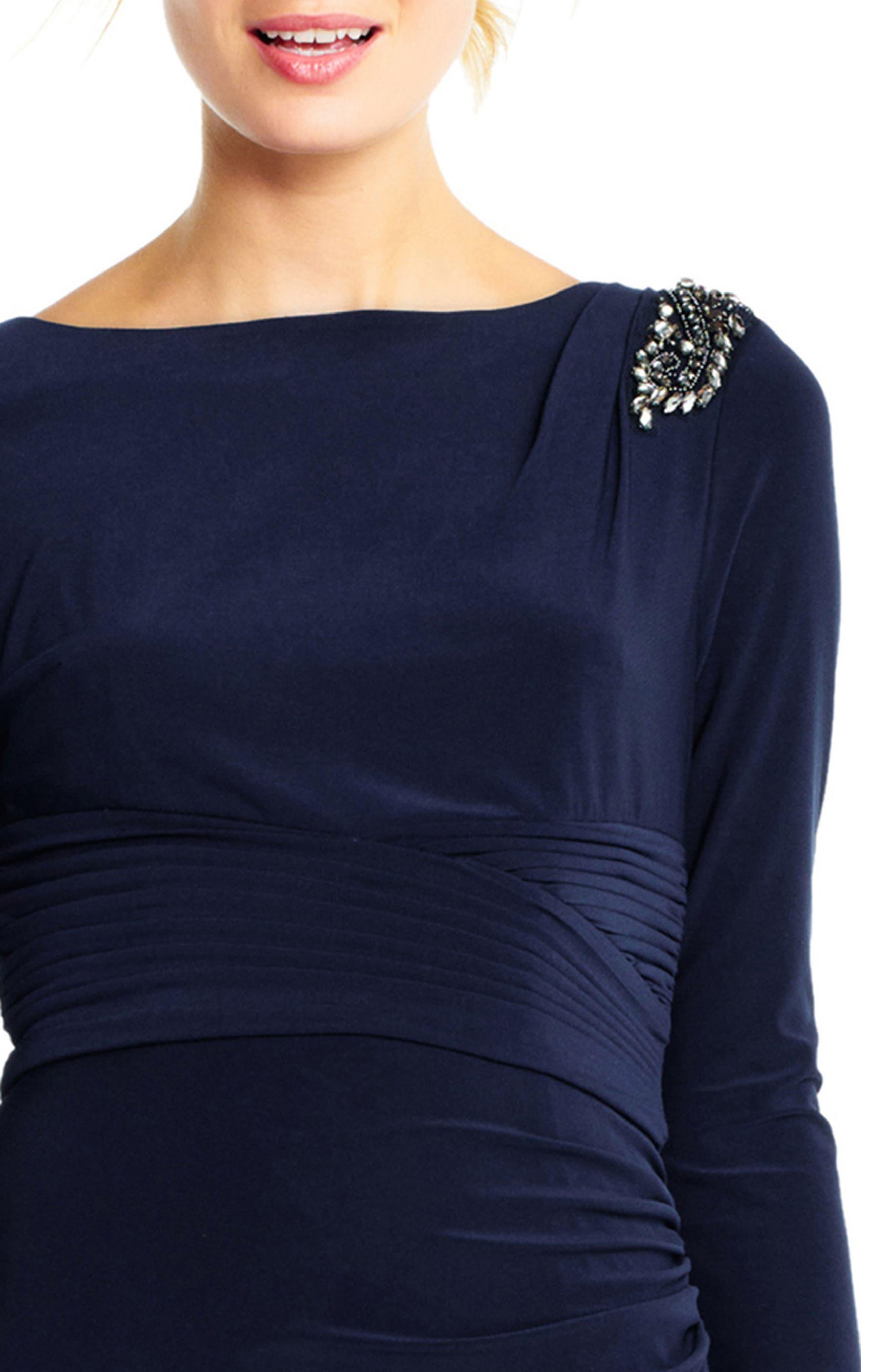 Jewel Shoulder Jersey Gown,                             Alternate thumbnail 4, color,                             410