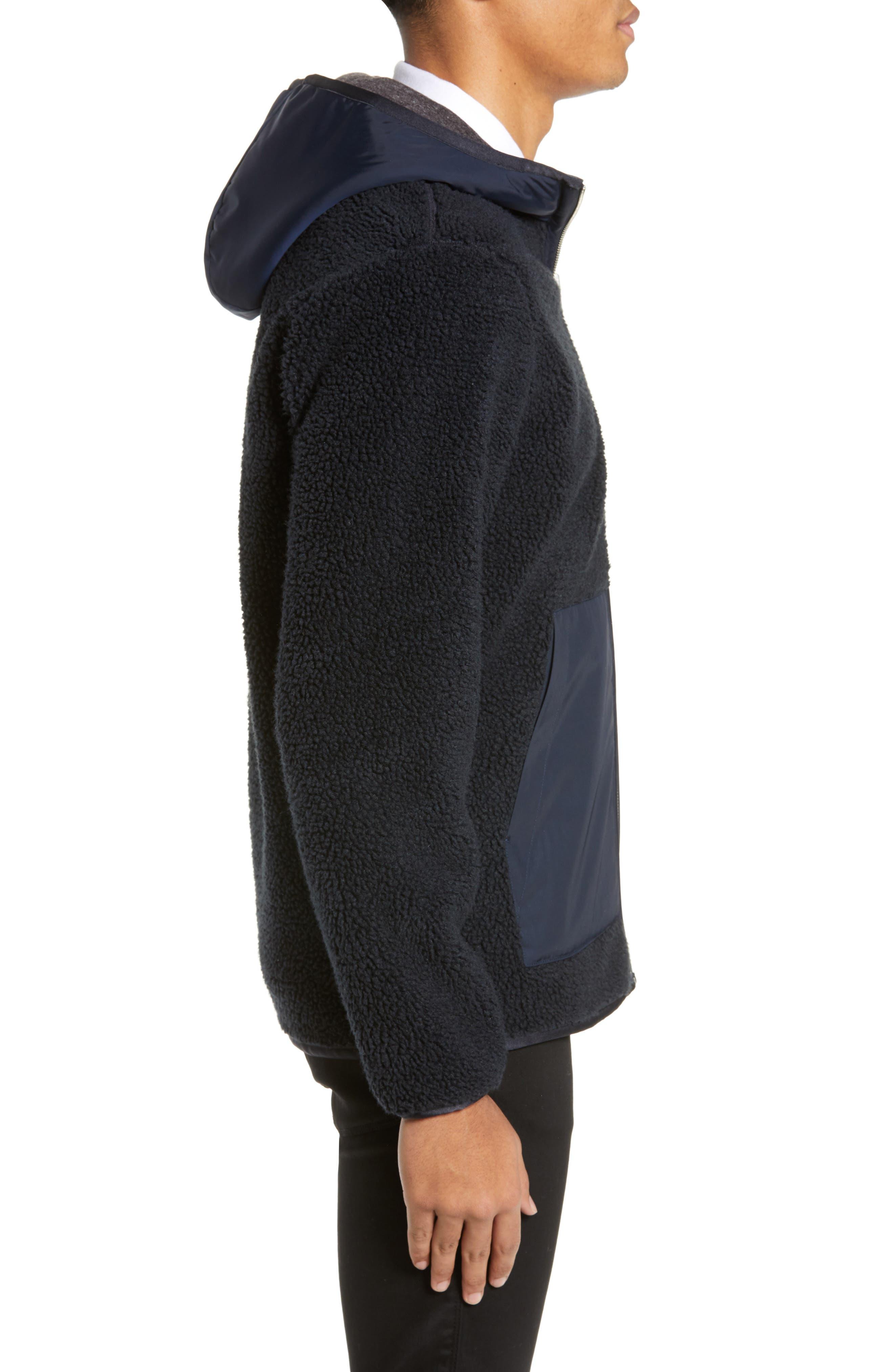 THEORY,                             Polar Fleece Reversible Zip Hoodie,                             Alternate thumbnail 4, color,                             ECLIPSE/ ASHPALT MELANGE