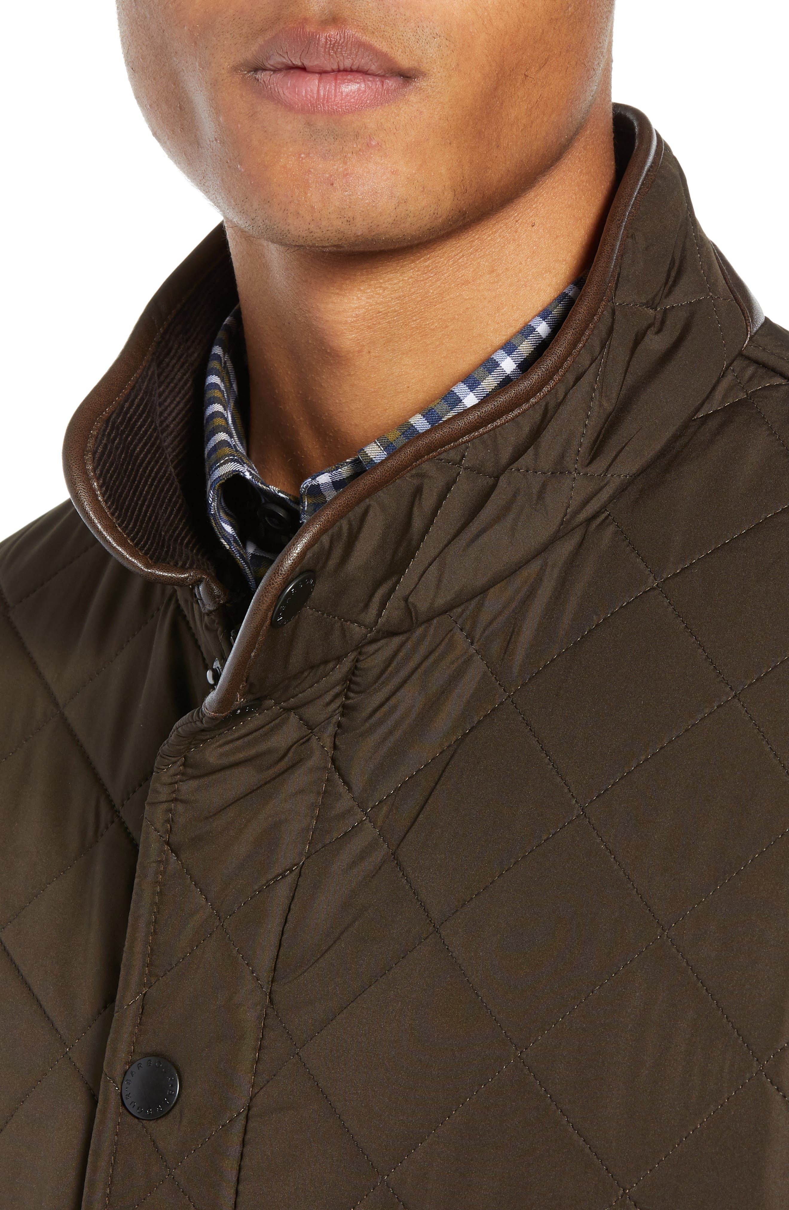 'Powell' Regular Fit Quilted Jacket,                             Alternate thumbnail 4, color,                             OLIVE