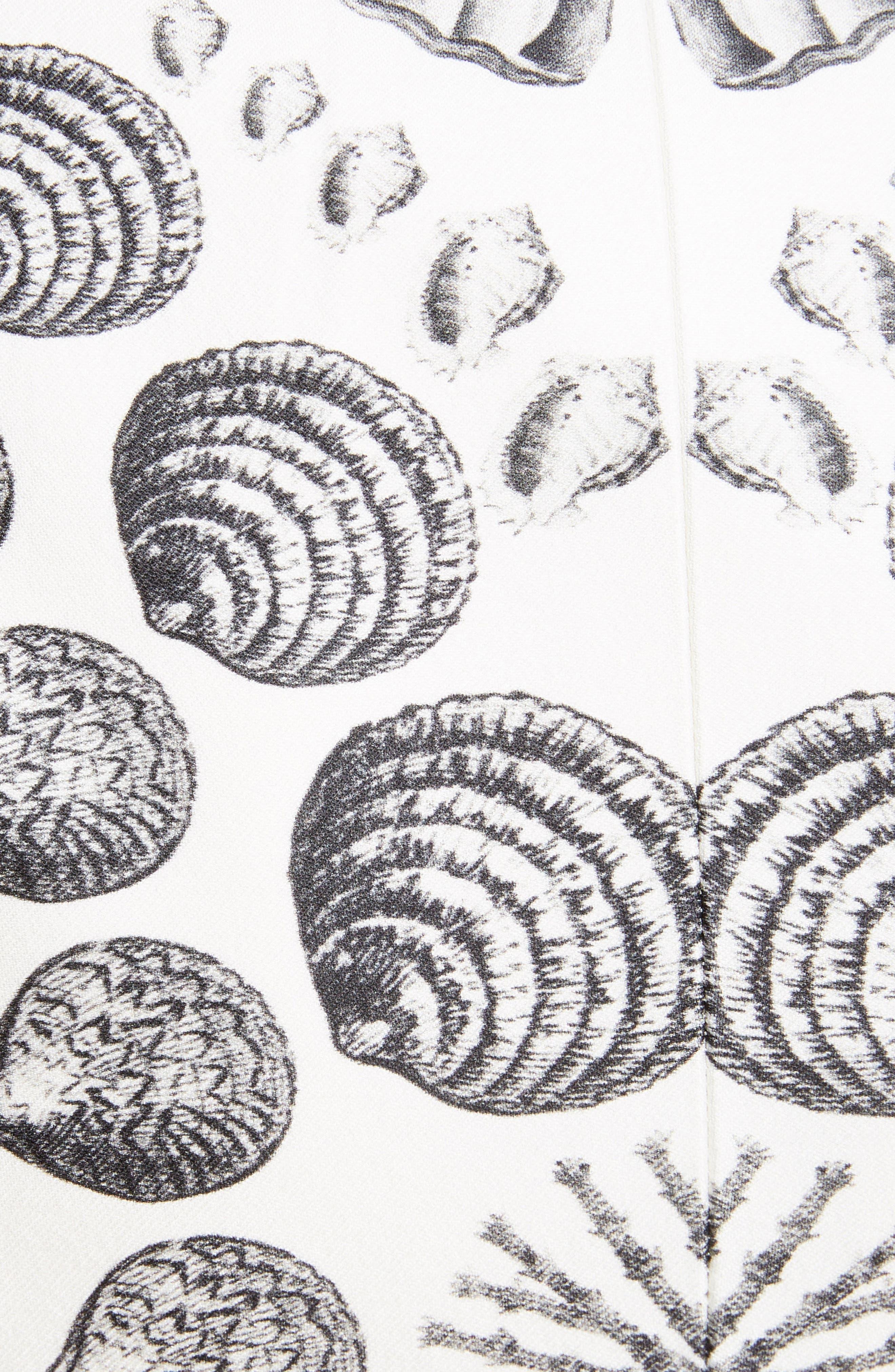 Shell Print Wool & Silk Blazer,                             Alternate thumbnail 5, color,                             IVORY BLACK