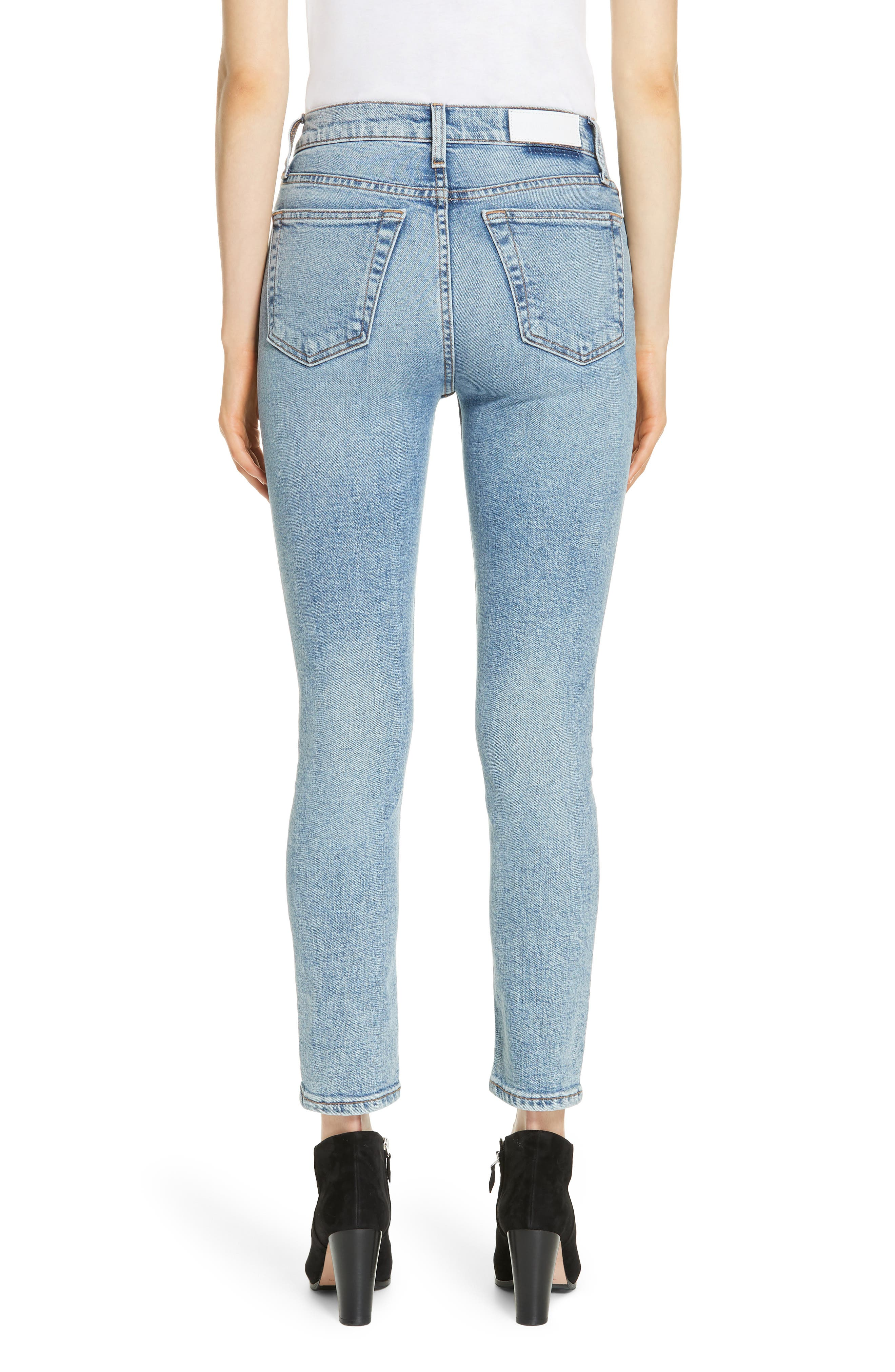 Comfort Stretch High Waist Ankle Crop Jeans,                             Alternate thumbnail 2, color,                             MID 9 0S