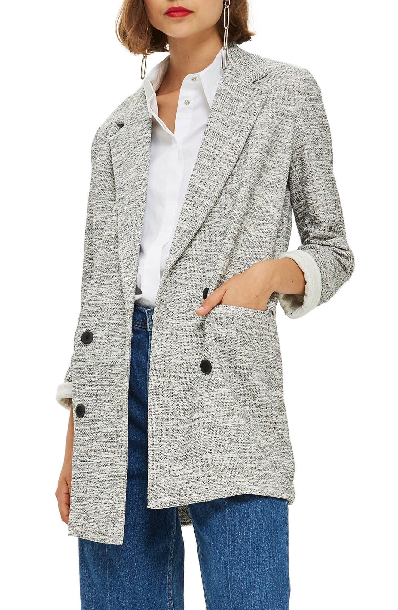 Sam Double Breasted Coat,                         Main,                         color, GREY MULTI