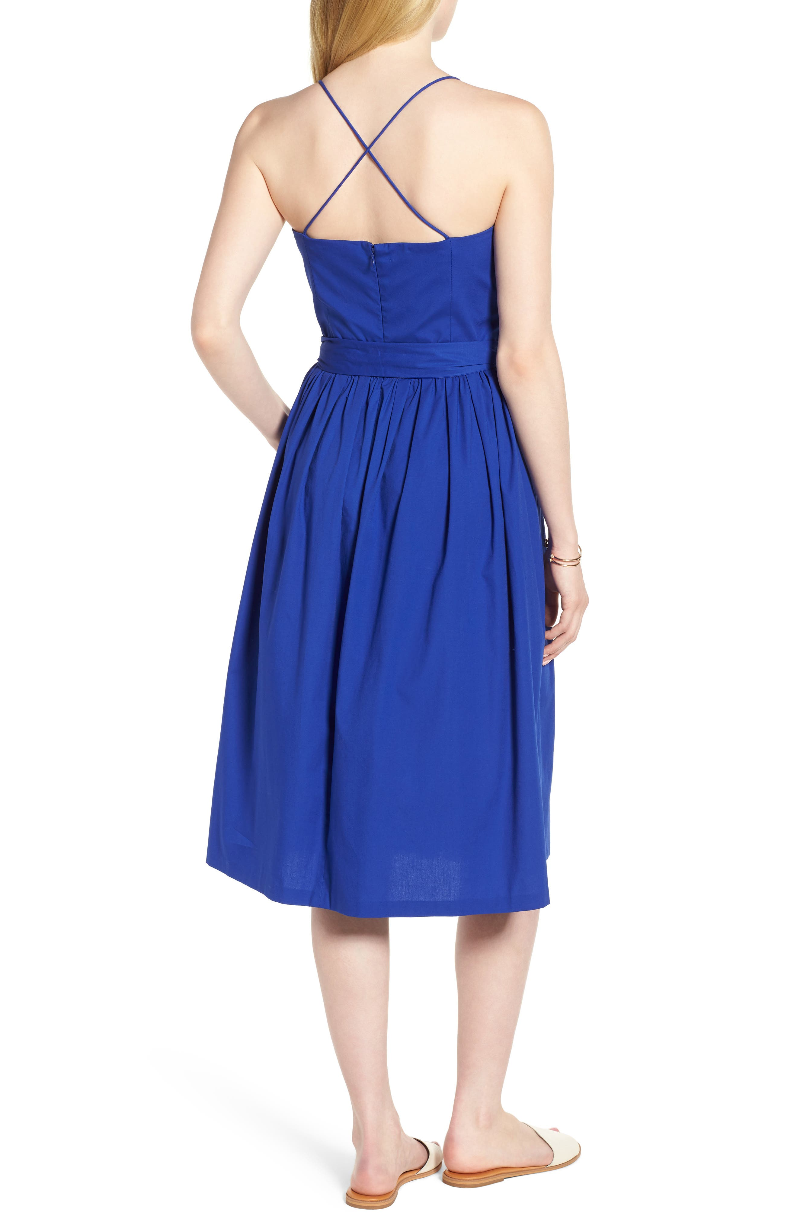 Strappy Fit & Flare Midi Dress,                             Alternate thumbnail 4, color,