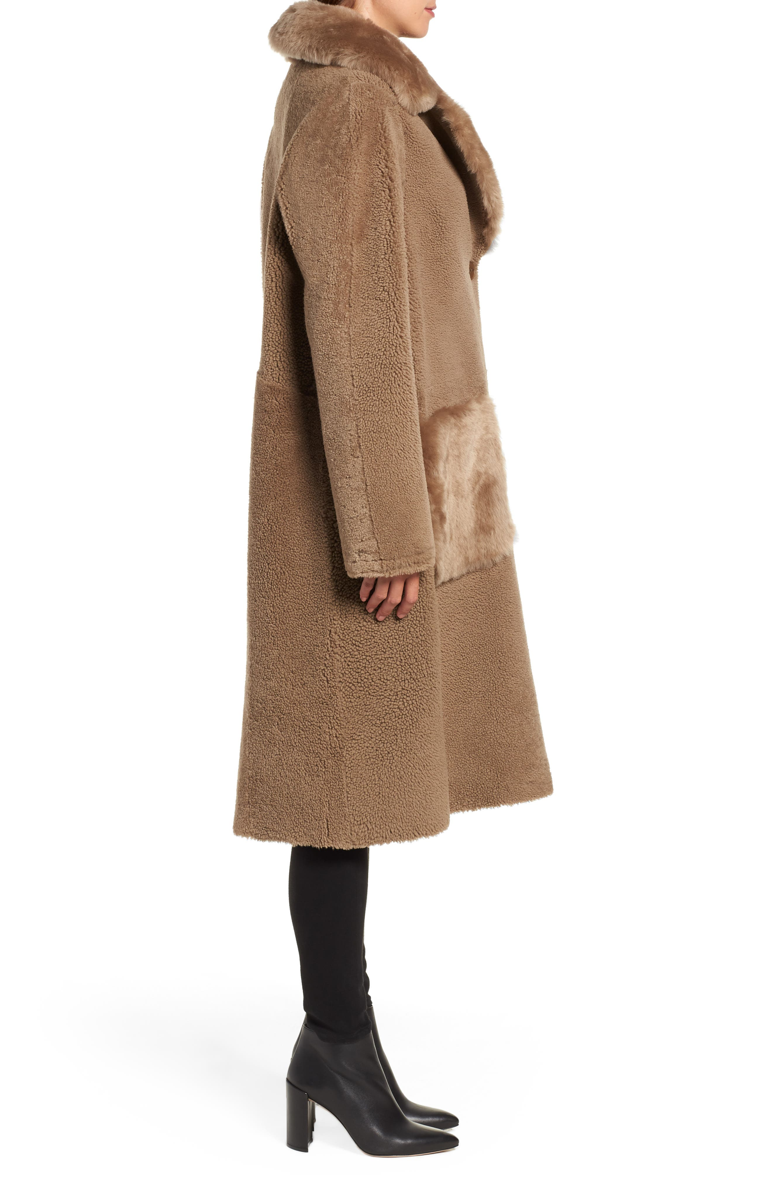HISO,                             Genuine Merino Shearling Coat,                             Alternate thumbnail 3, color,                             250